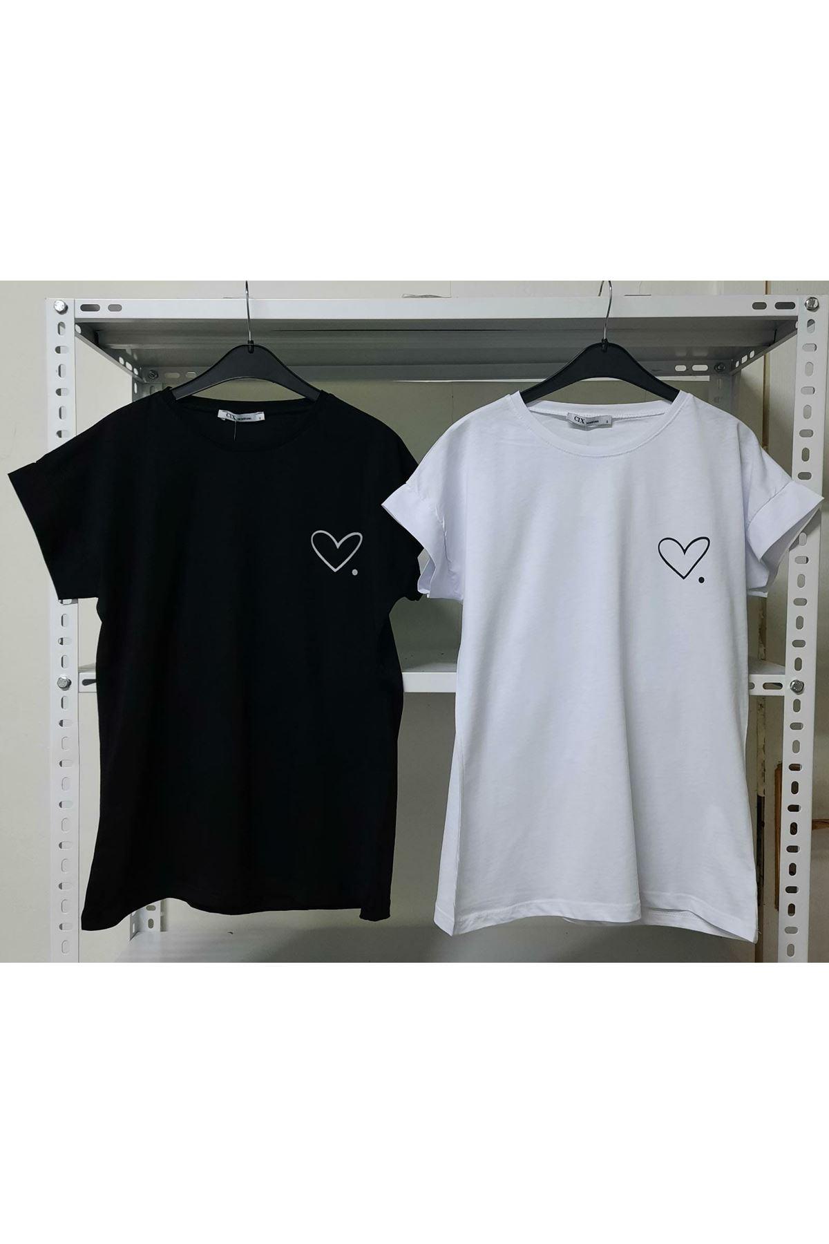 Kalp Baskılı Tshirt - SİYAH