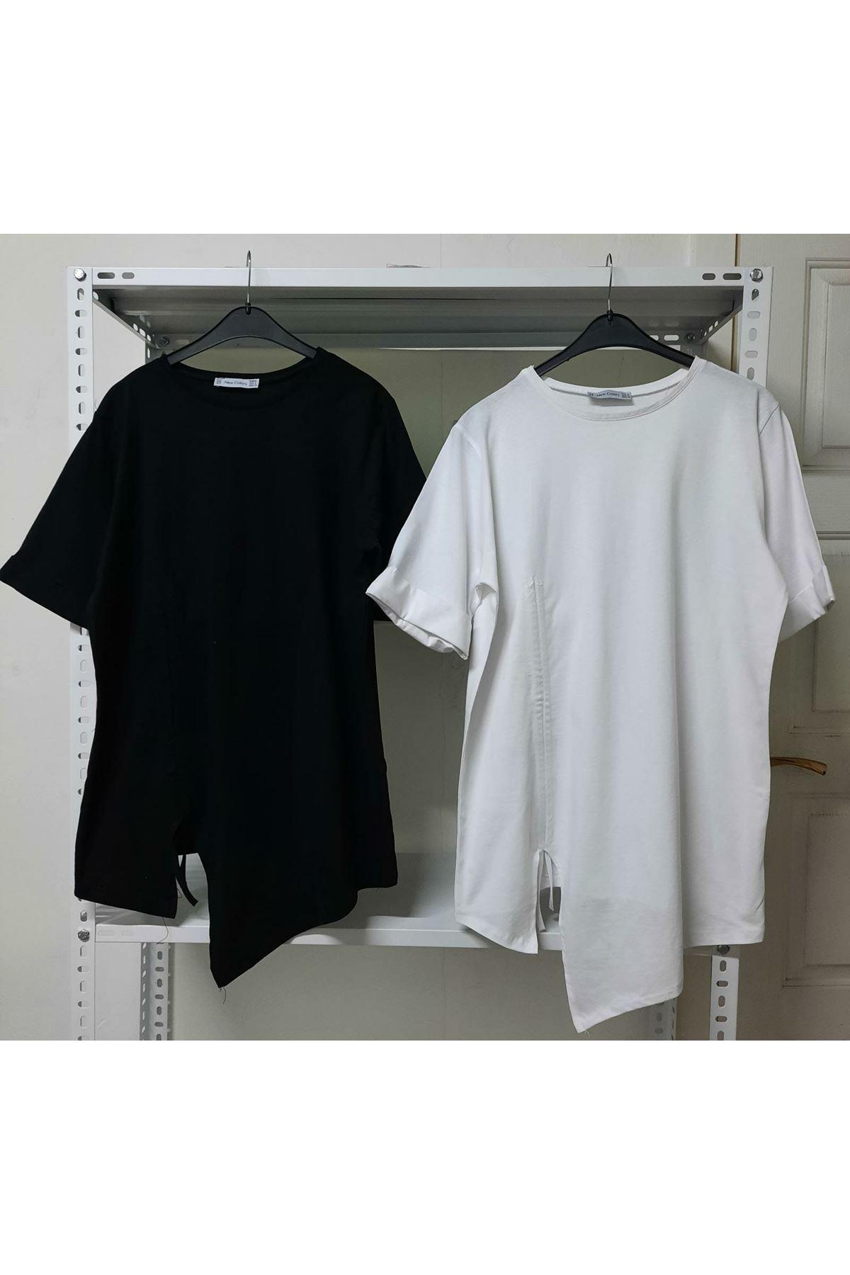 Büzgü Detaylı T-shirt - Siyah