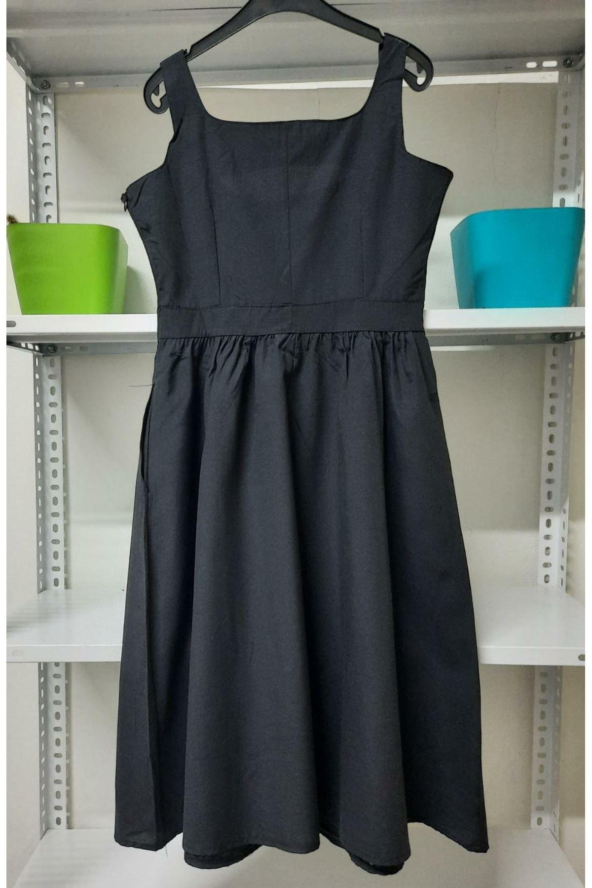 Askılı Keten Elbise - Siyah