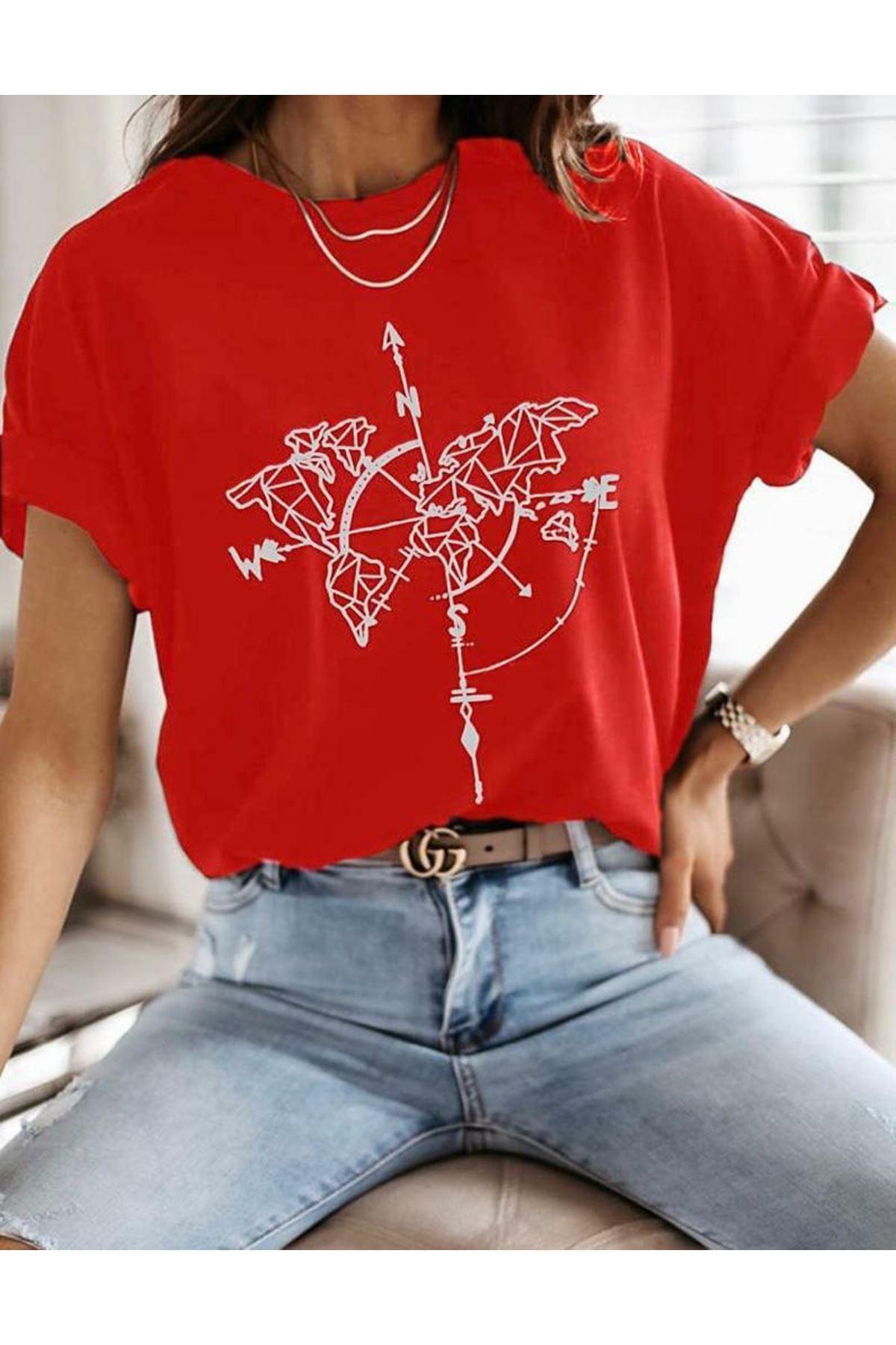 Pusula Baskılı T-shirt - KIRMIZI