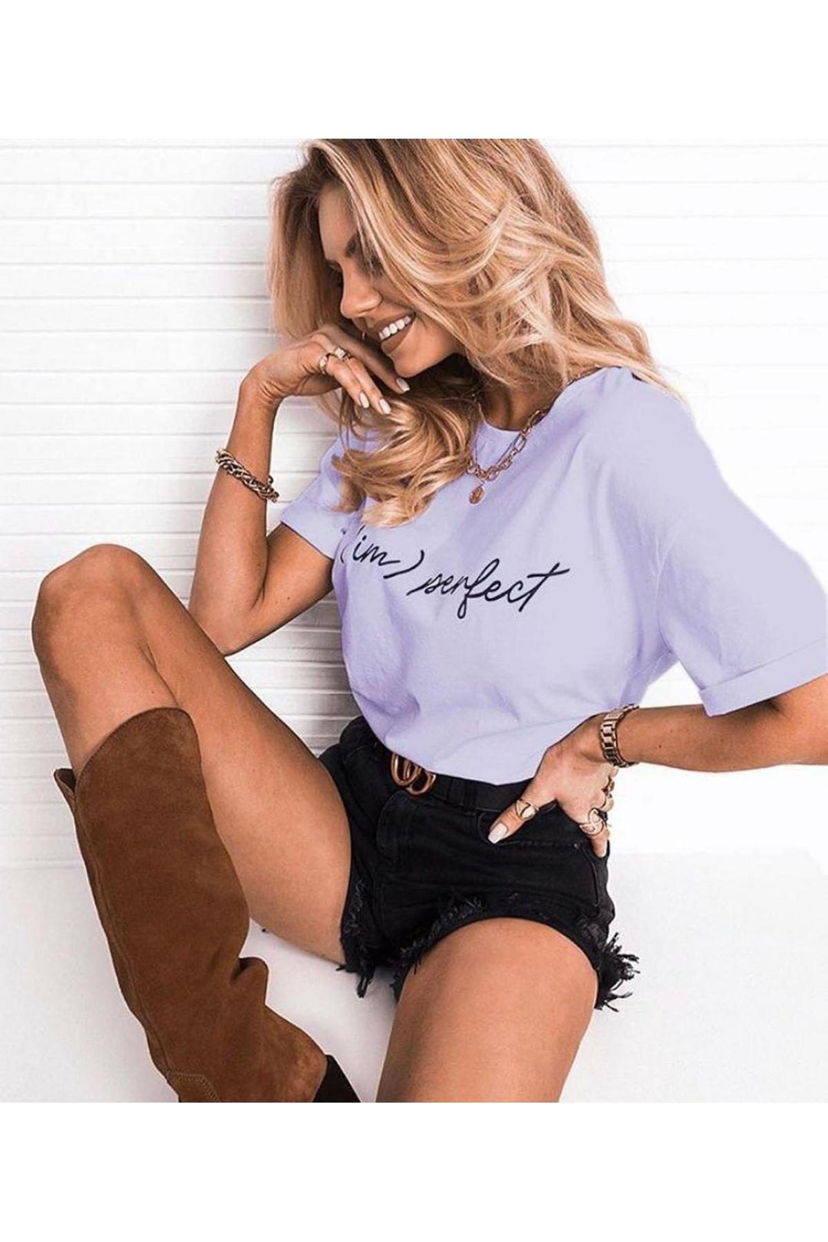 Perfect Yazı Baskılı T-shirt - LİLA