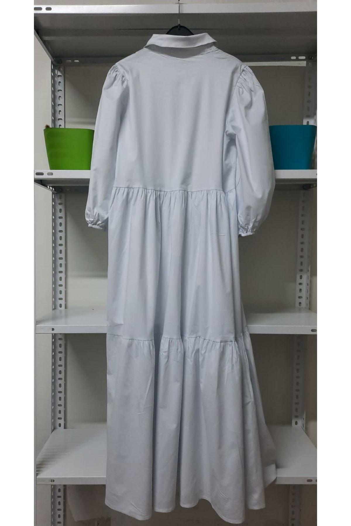 Poplin Kumaş Gömlek Elbise - Beyaz