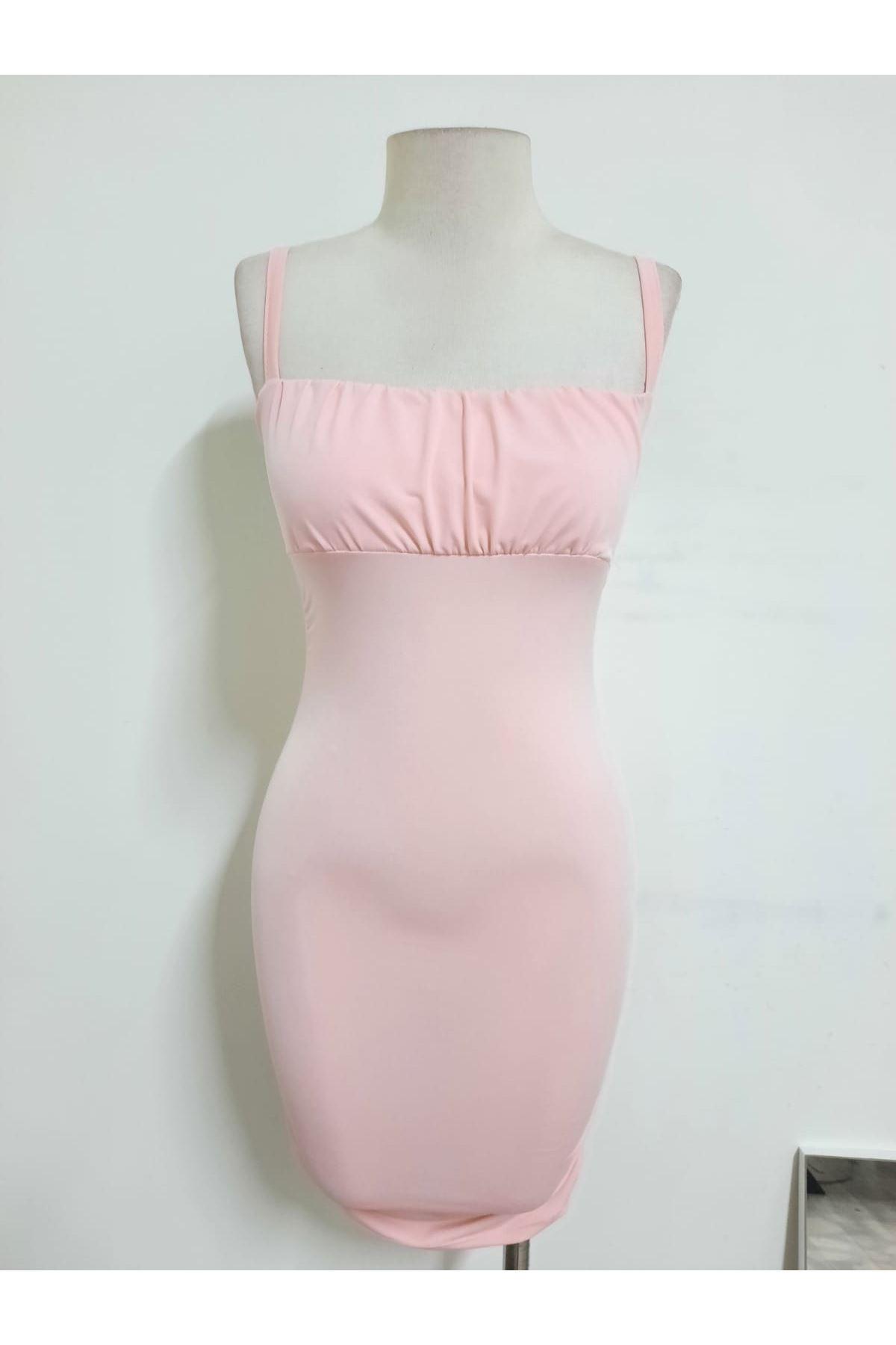 Sırt Bağlamalı Askılı Elbise - Pudra