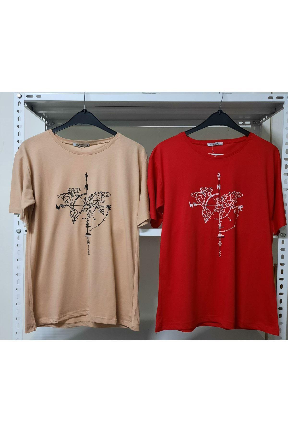 Pusula Baskılı T-shirt - BEJ