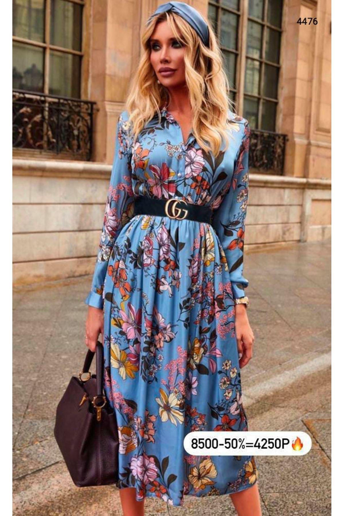 Dijital Baskılı Kemerli Elbise - Mavi