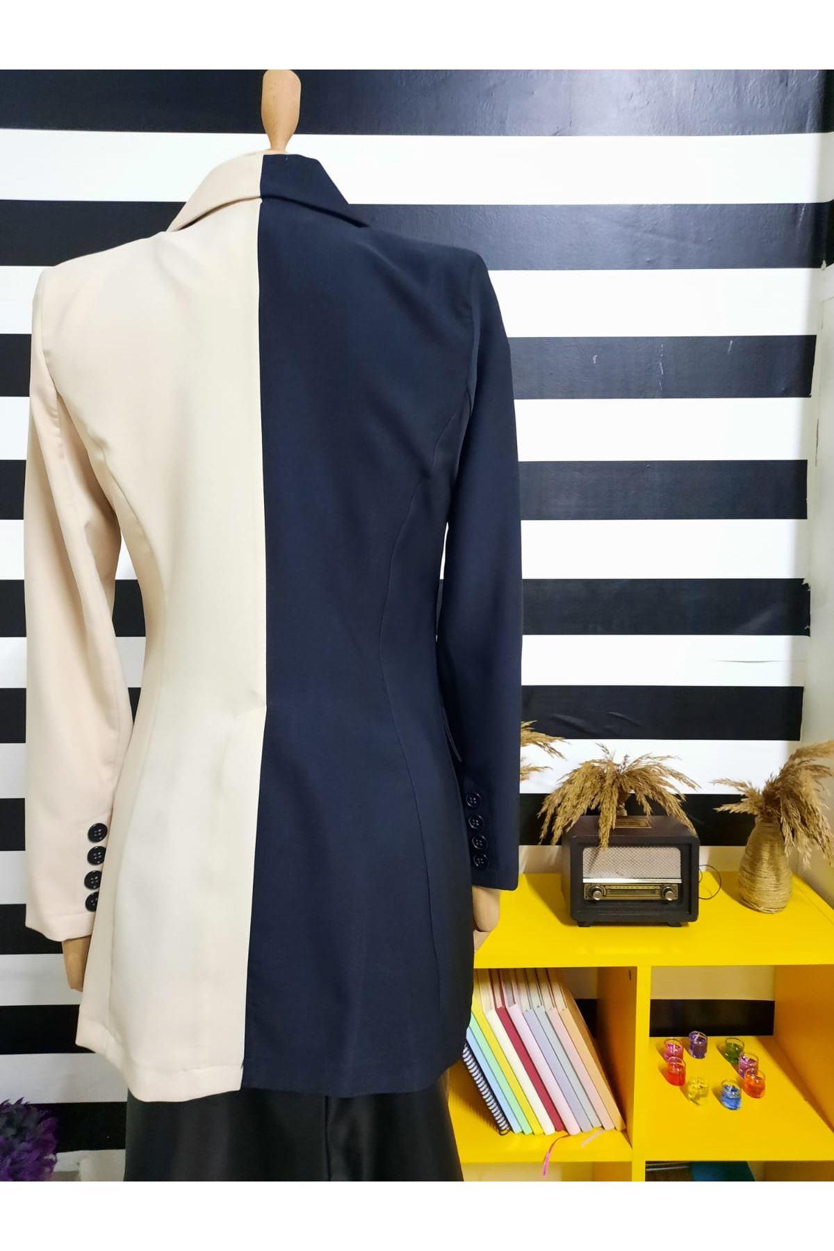 Çift Renk Blazer Ceket - SİYAH
