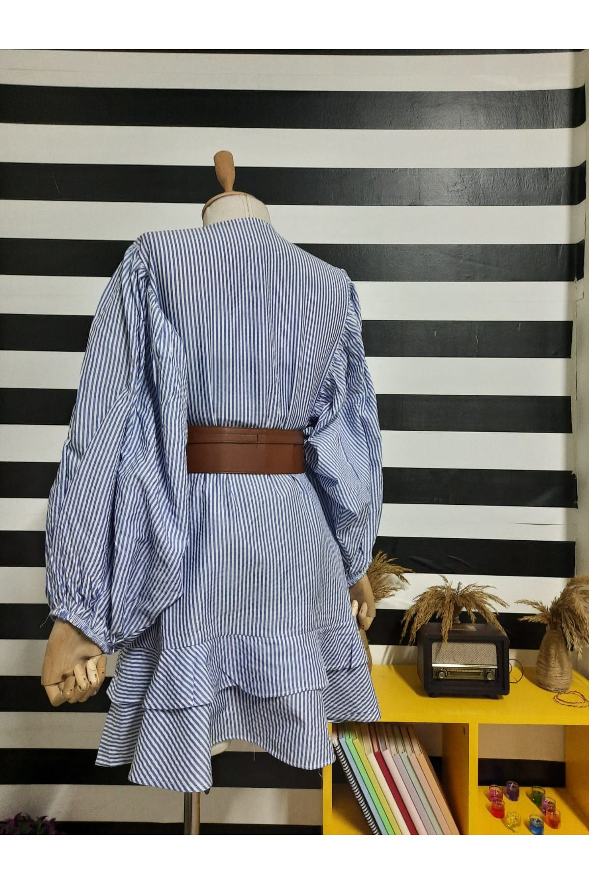Çizgil Desen Kemerli Salaş Elbise - MAVİ