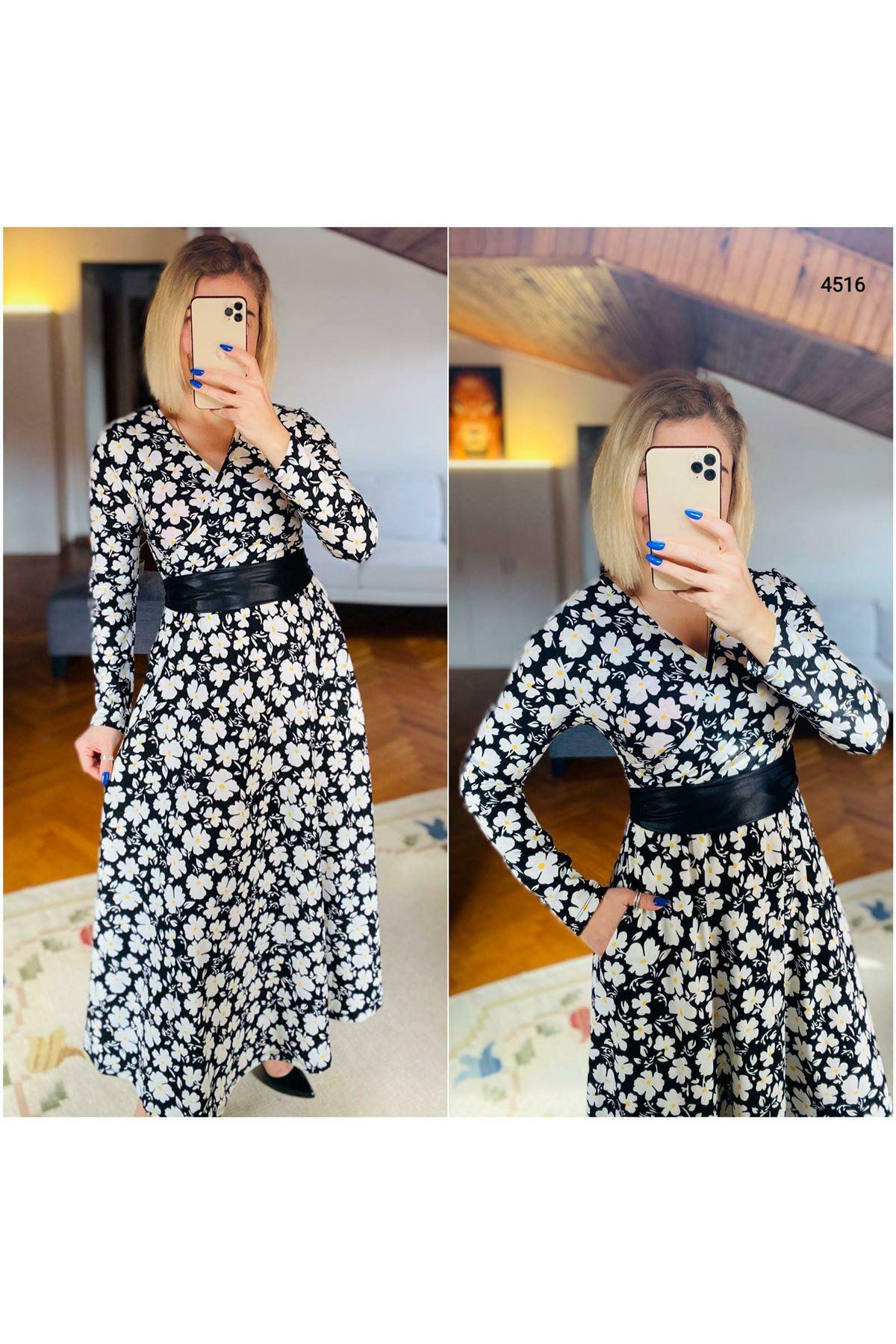 Çiçek Desen Kravuze Yaka Maxi Elbise - SİYAH