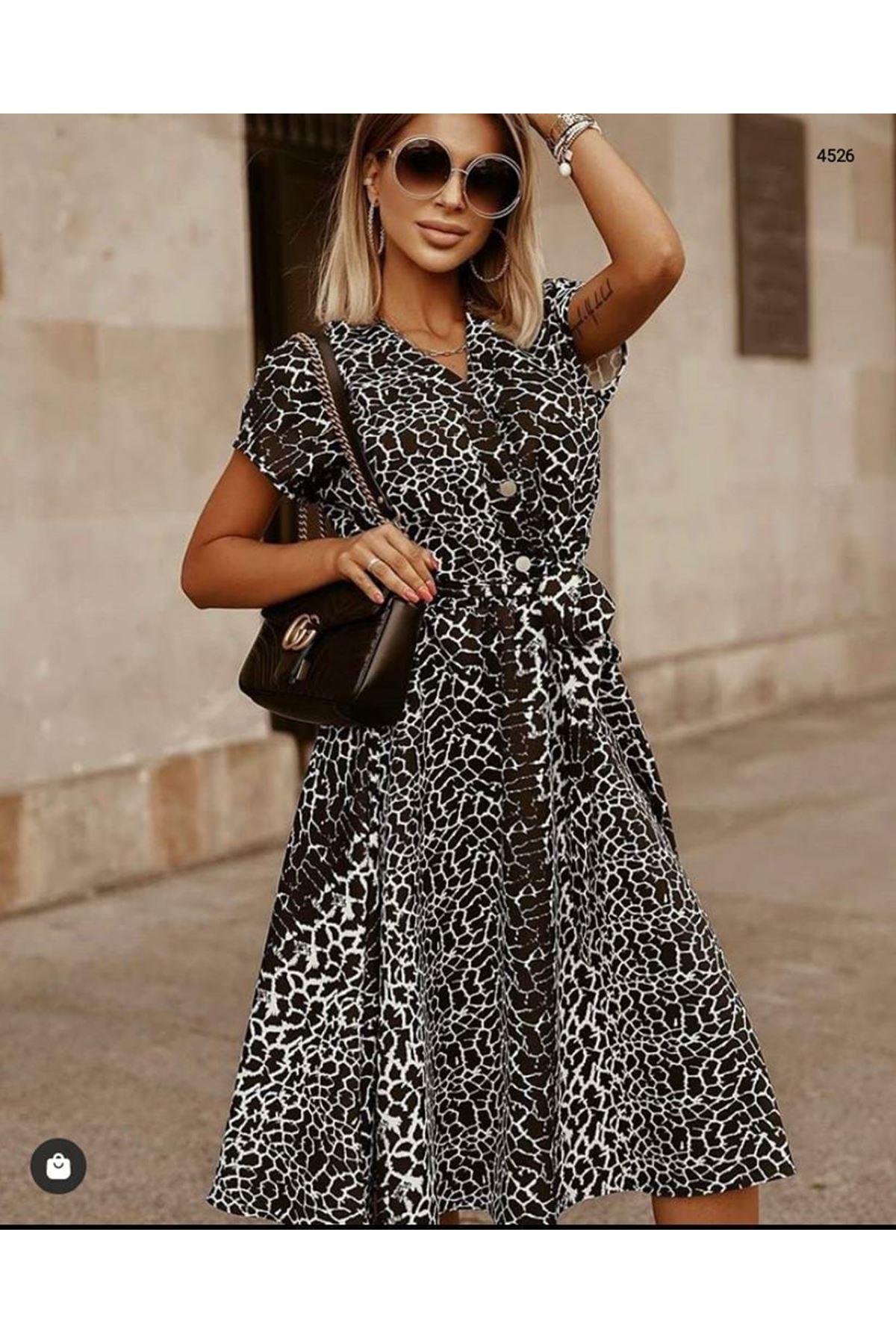 Düğmeli Şifon Elbise - LEOPAR