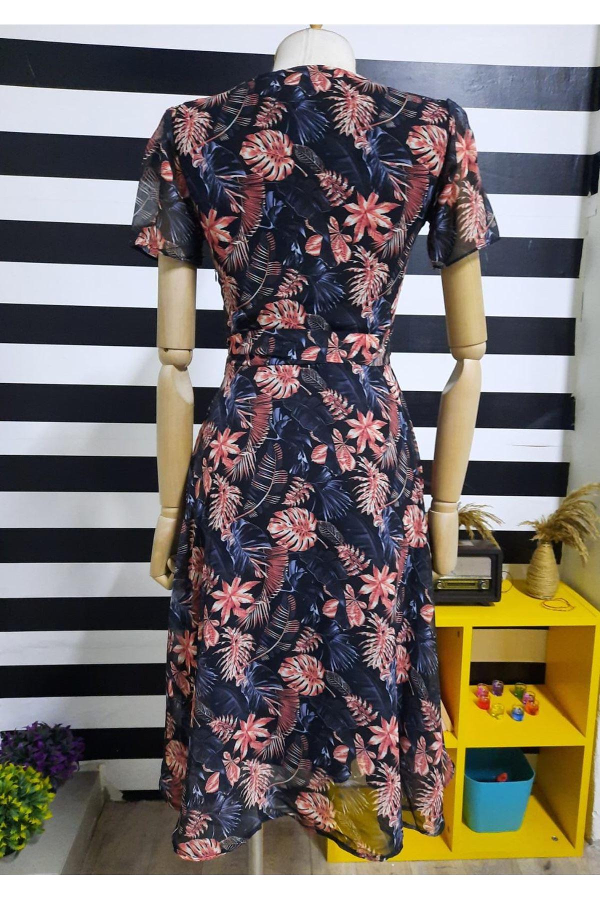 Düğmeli Şifon Elbise - SİYAH