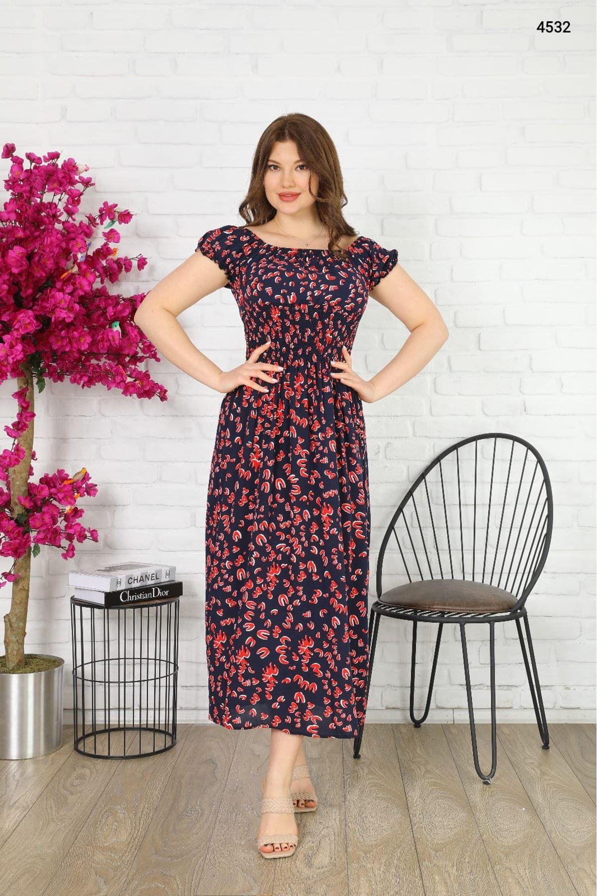 Gipeli Çiçek Desen Elbise - MULTİ