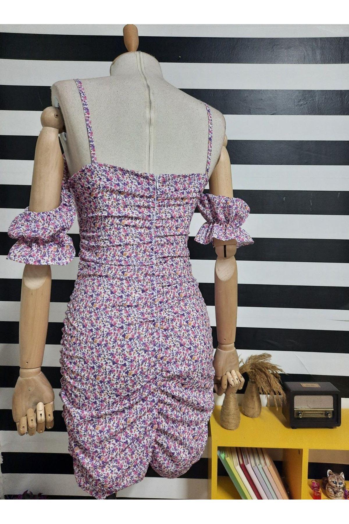 Çiçek Desen Büzgülü Elbise - Multi