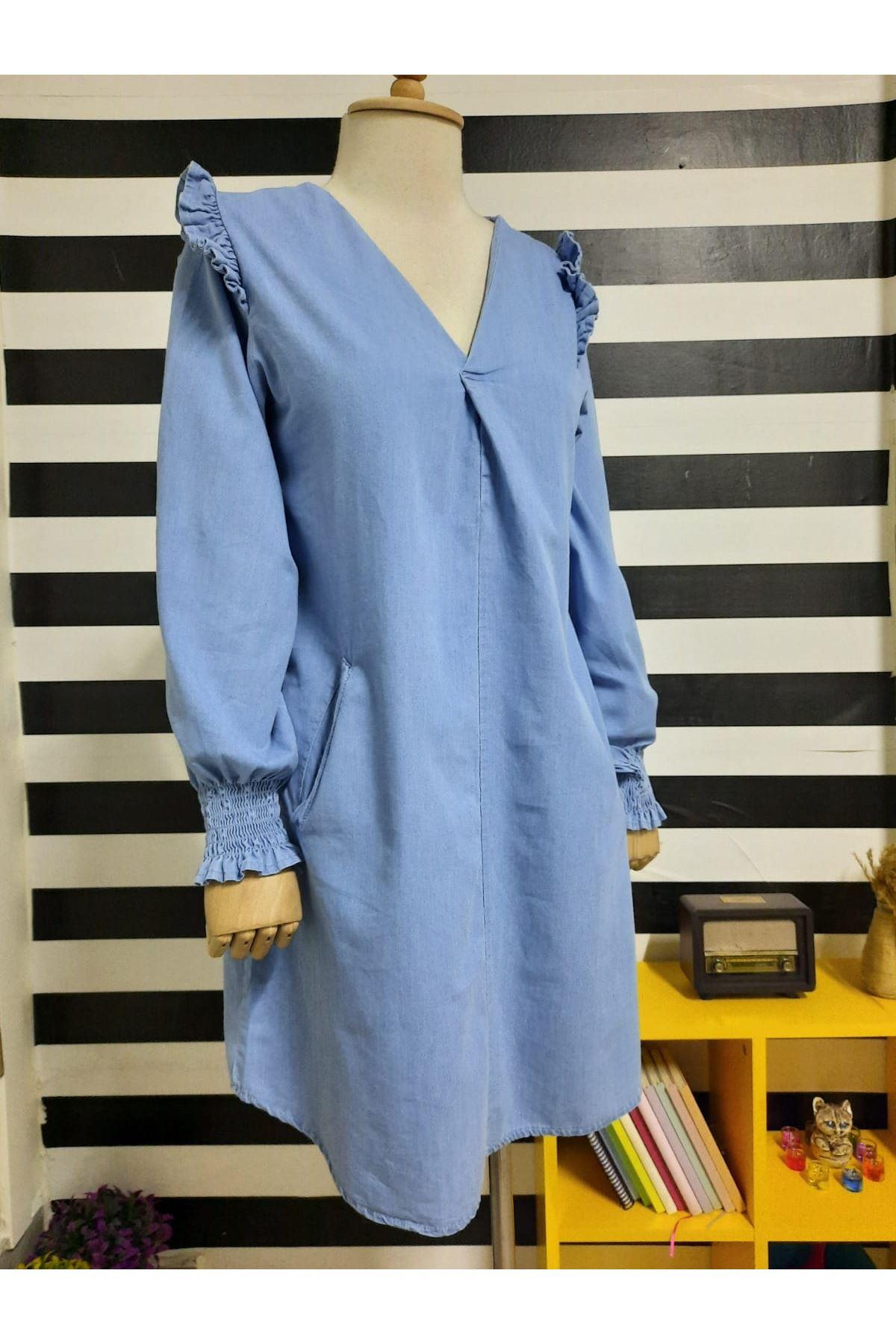Omuz Detaylı Kot Elbise - Mavi