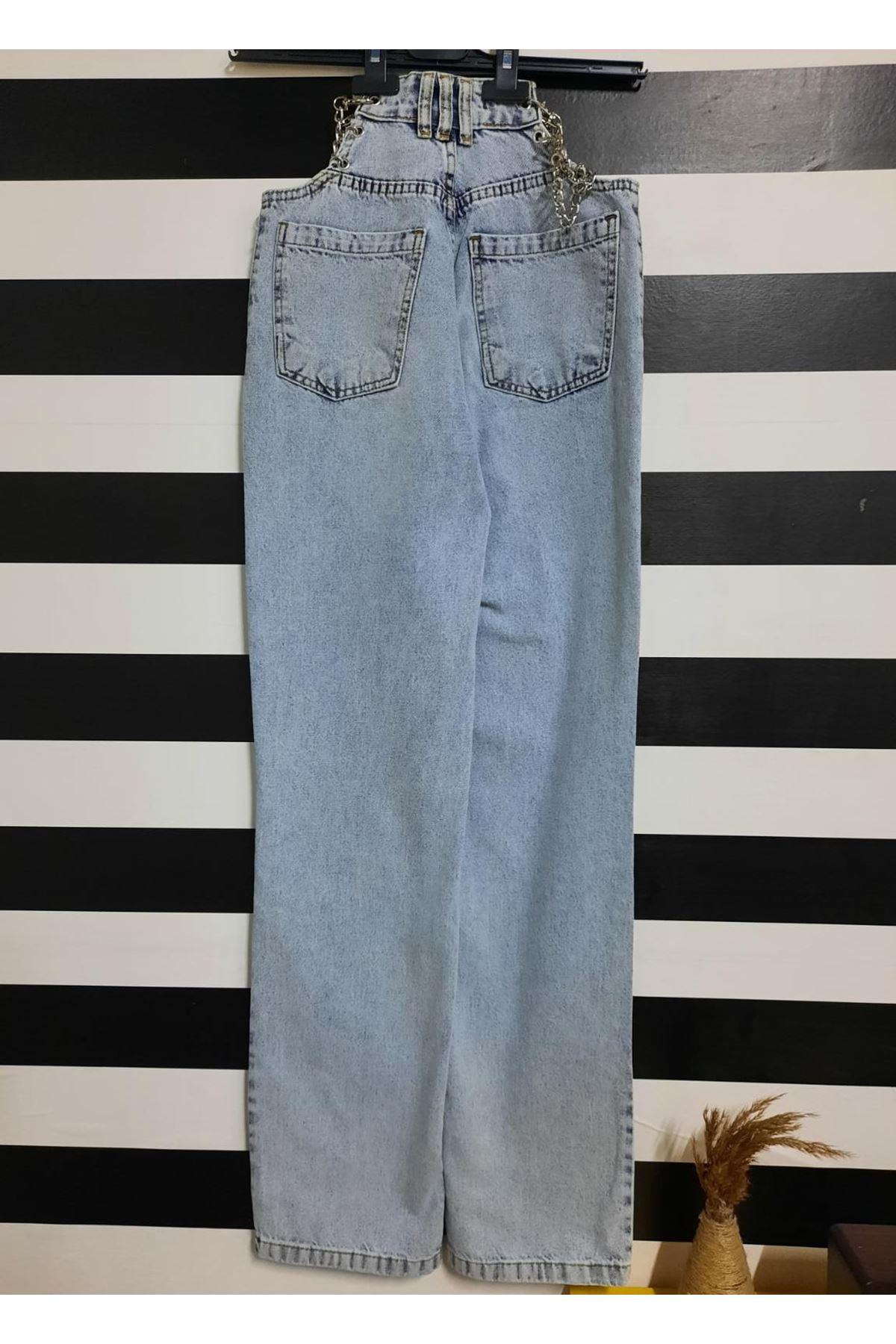 Bel Zincir Detaylı Kot Pantolon - Mavi