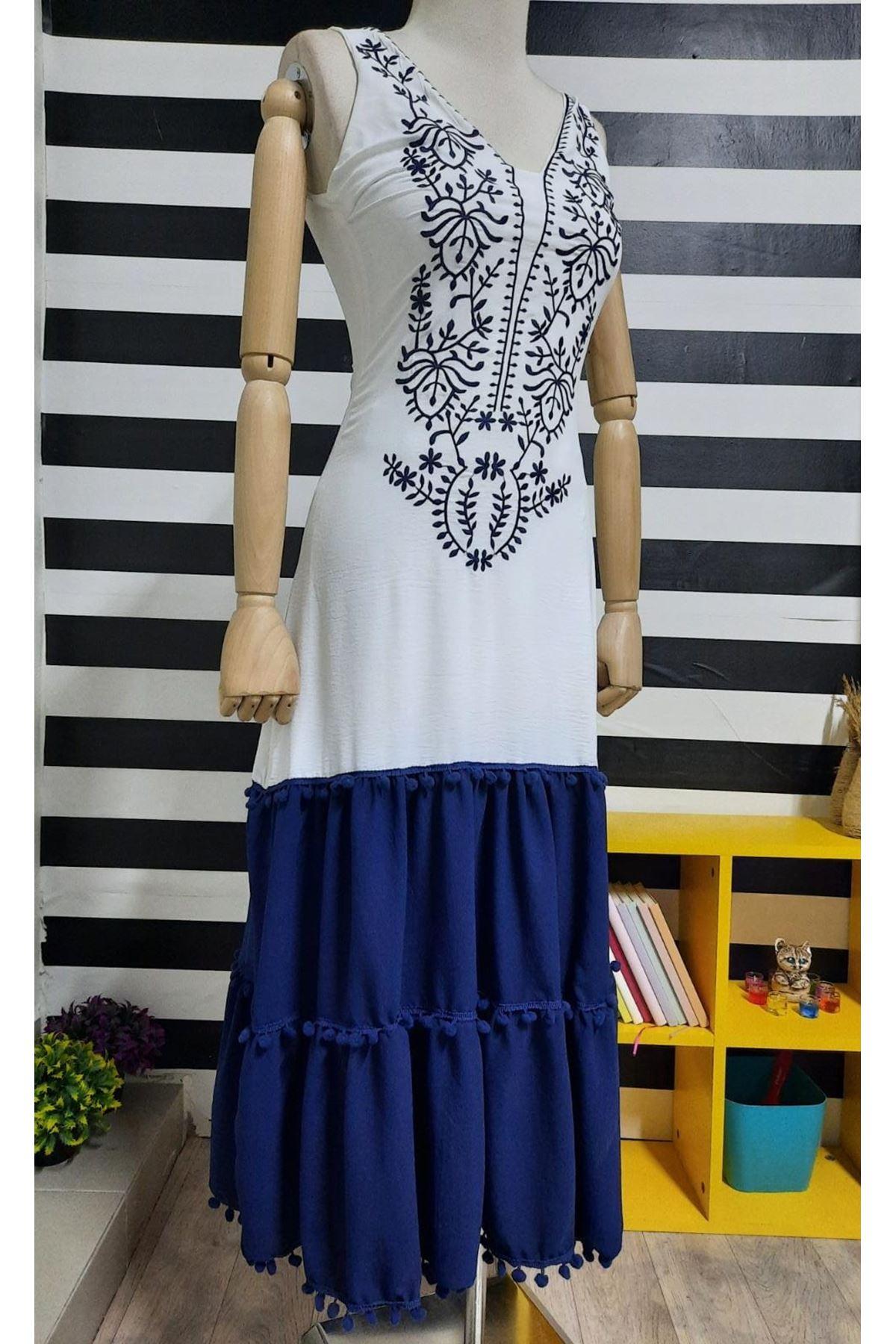 Nakış Detaylı Ayrobin Elbise - BEYAZ