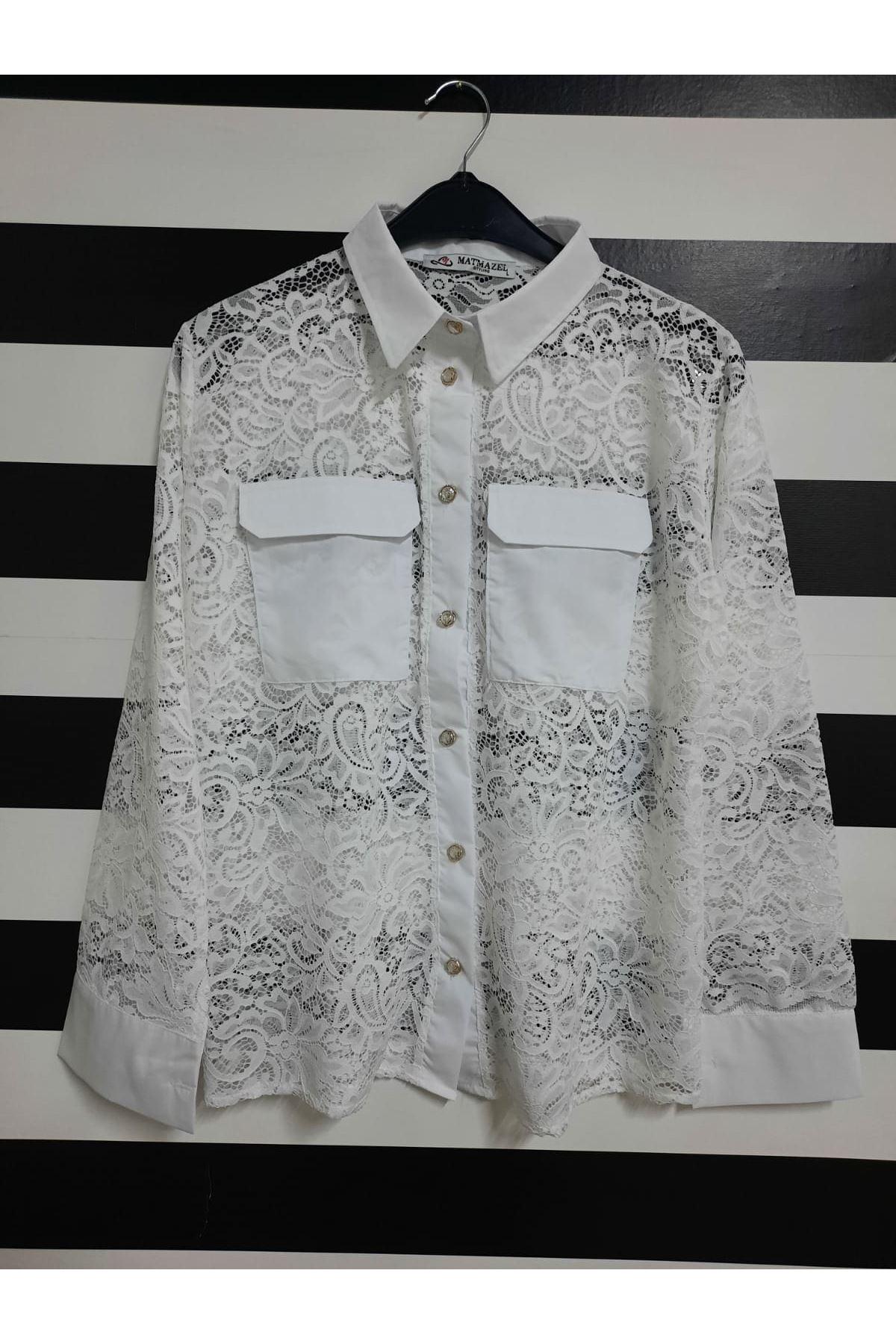 Dantel Gömlek - Beyaz