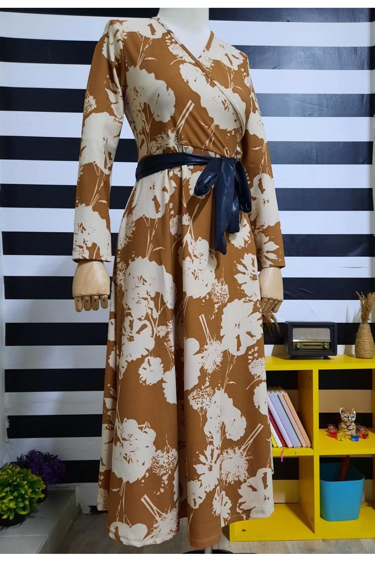 Kravuze Yaka Maxi Elbise - TURUNCU