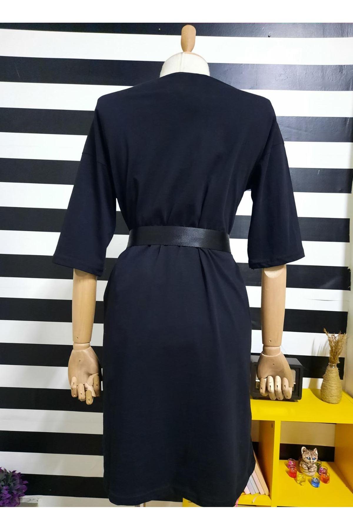 KZ Model Nakışlı Elbise - SİYAH