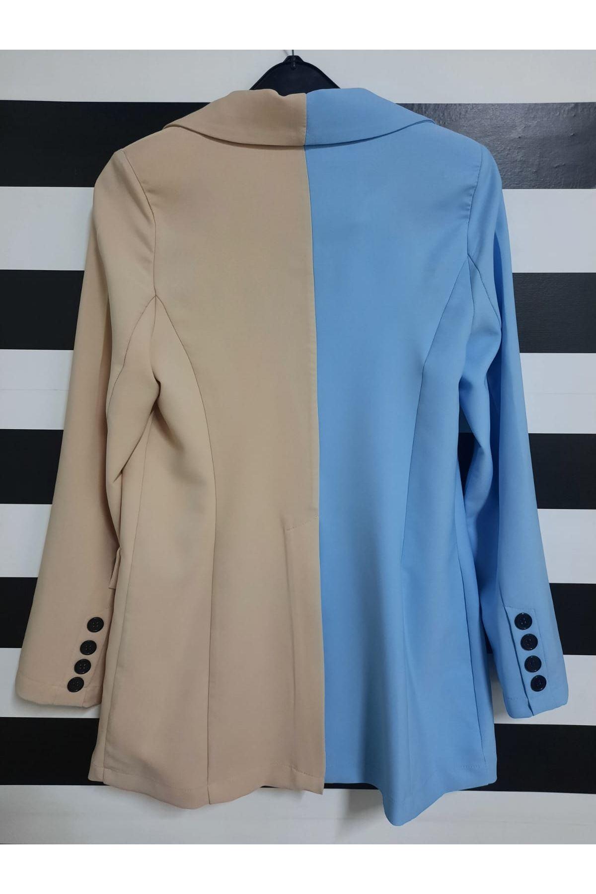 Çift Renk Blazer Ceket - MAVİ
