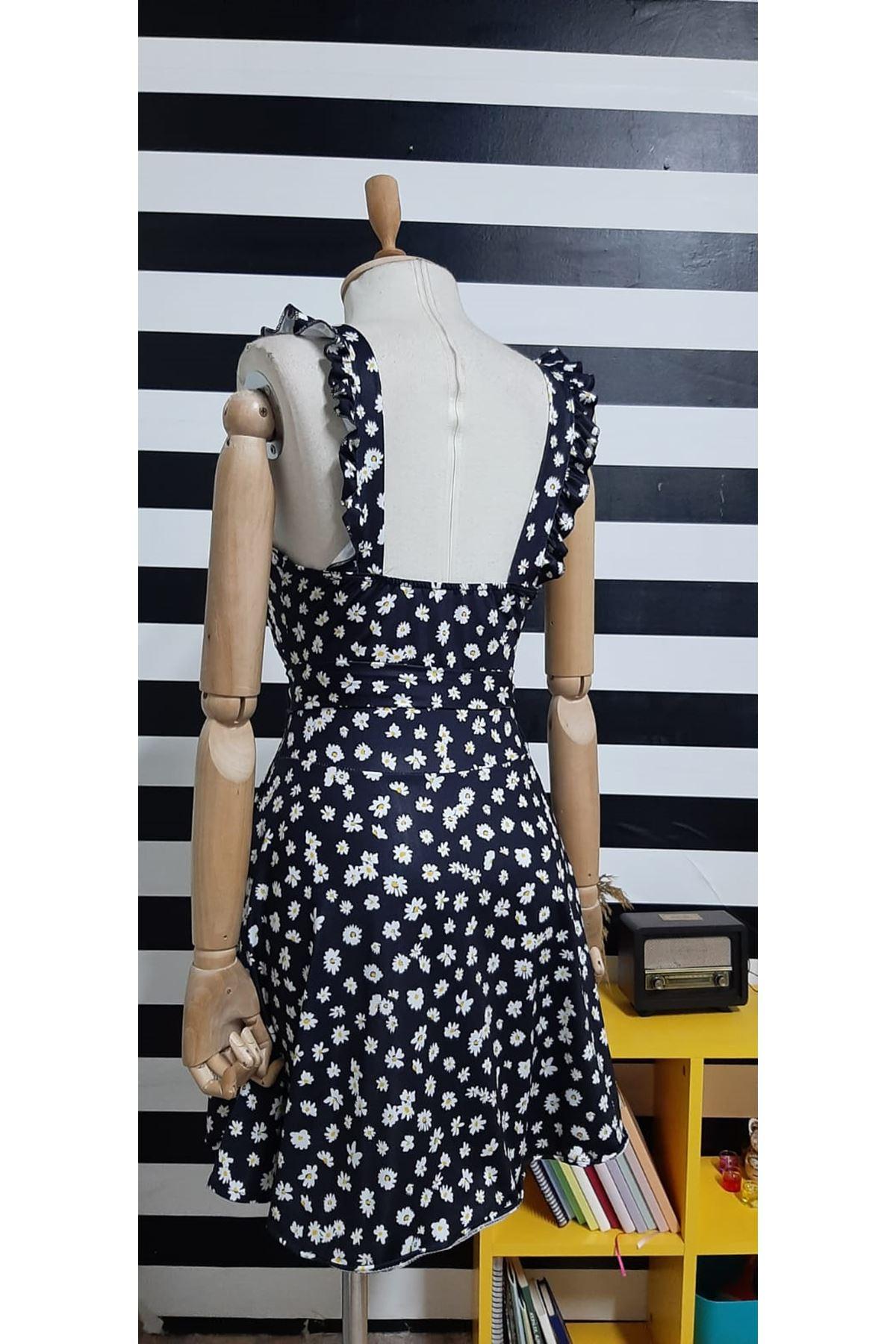 Papatya Desen Mini Elbise - SİYAH