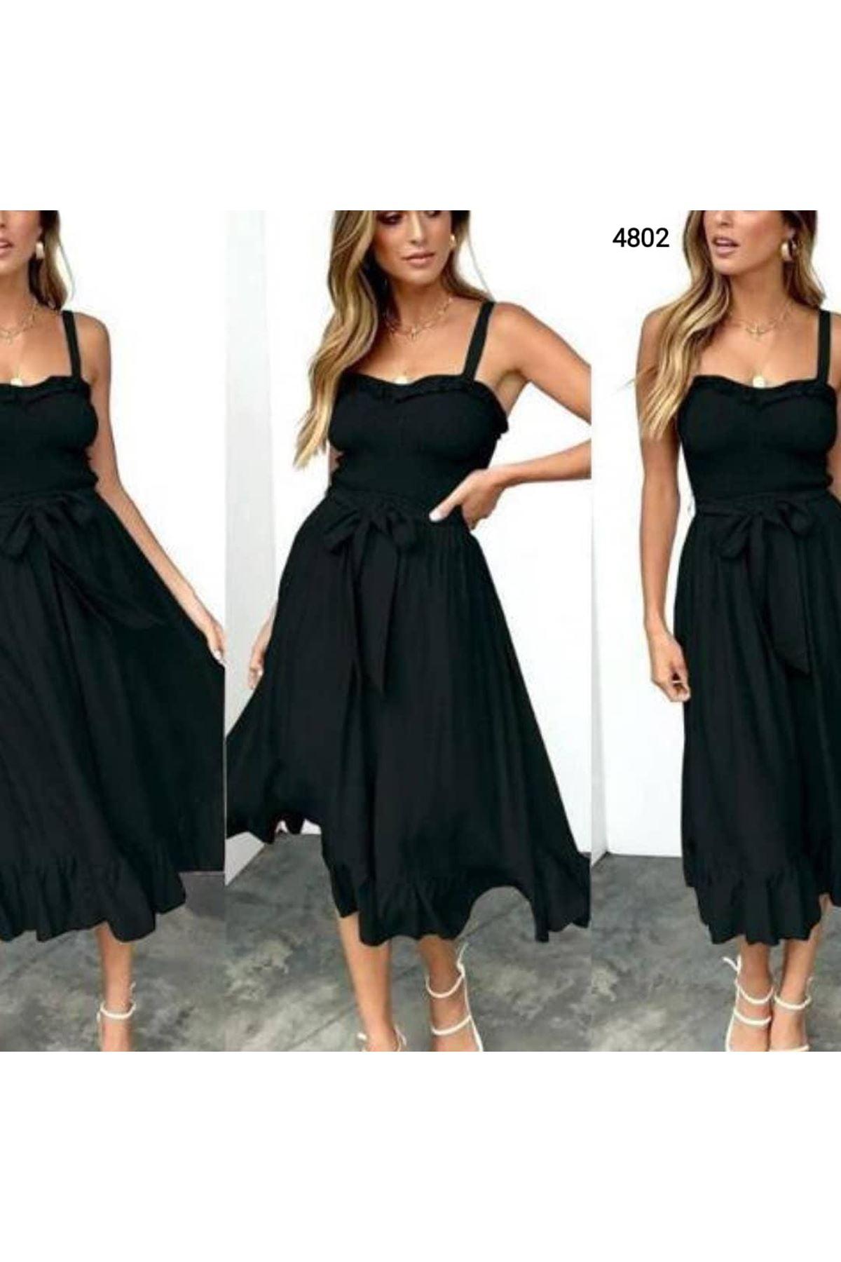 Gipeli Ve Askılı Elbise - SİYAH