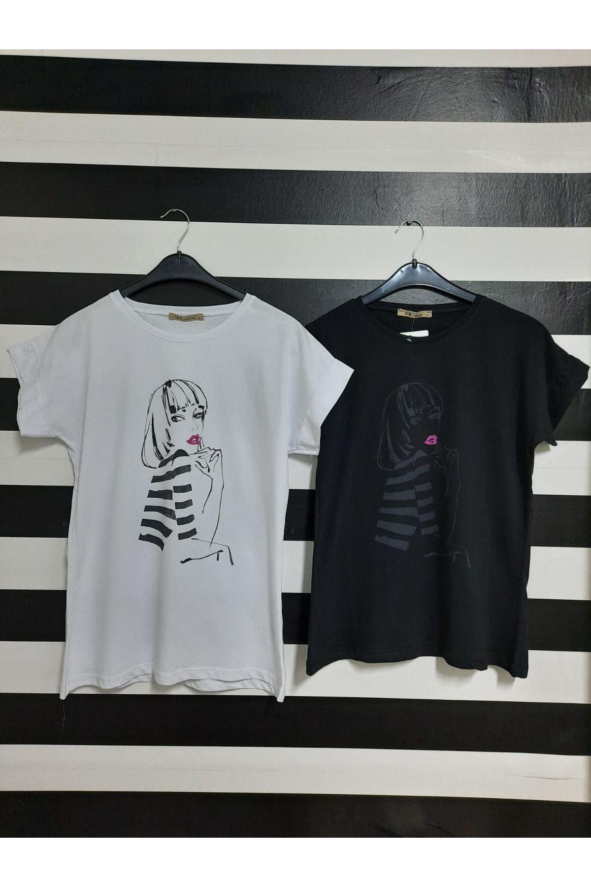 Çizgili Kız Baskılı Tshirt - SİYAH