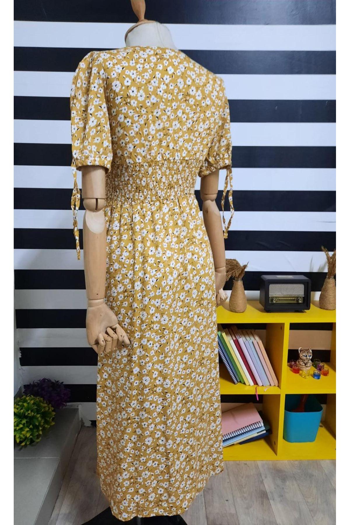 Bel Gipeli Çiçek Desen Elbise - HARDAL