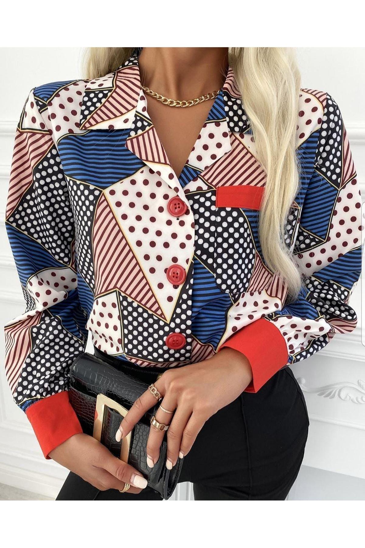 Cep Detaylı Multi Desen Gömlek - MULTİ
