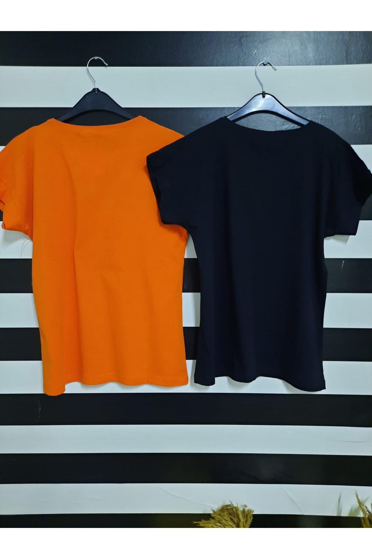 Dudak Ve Yazı Baskılı Tshirt - TURUNCU