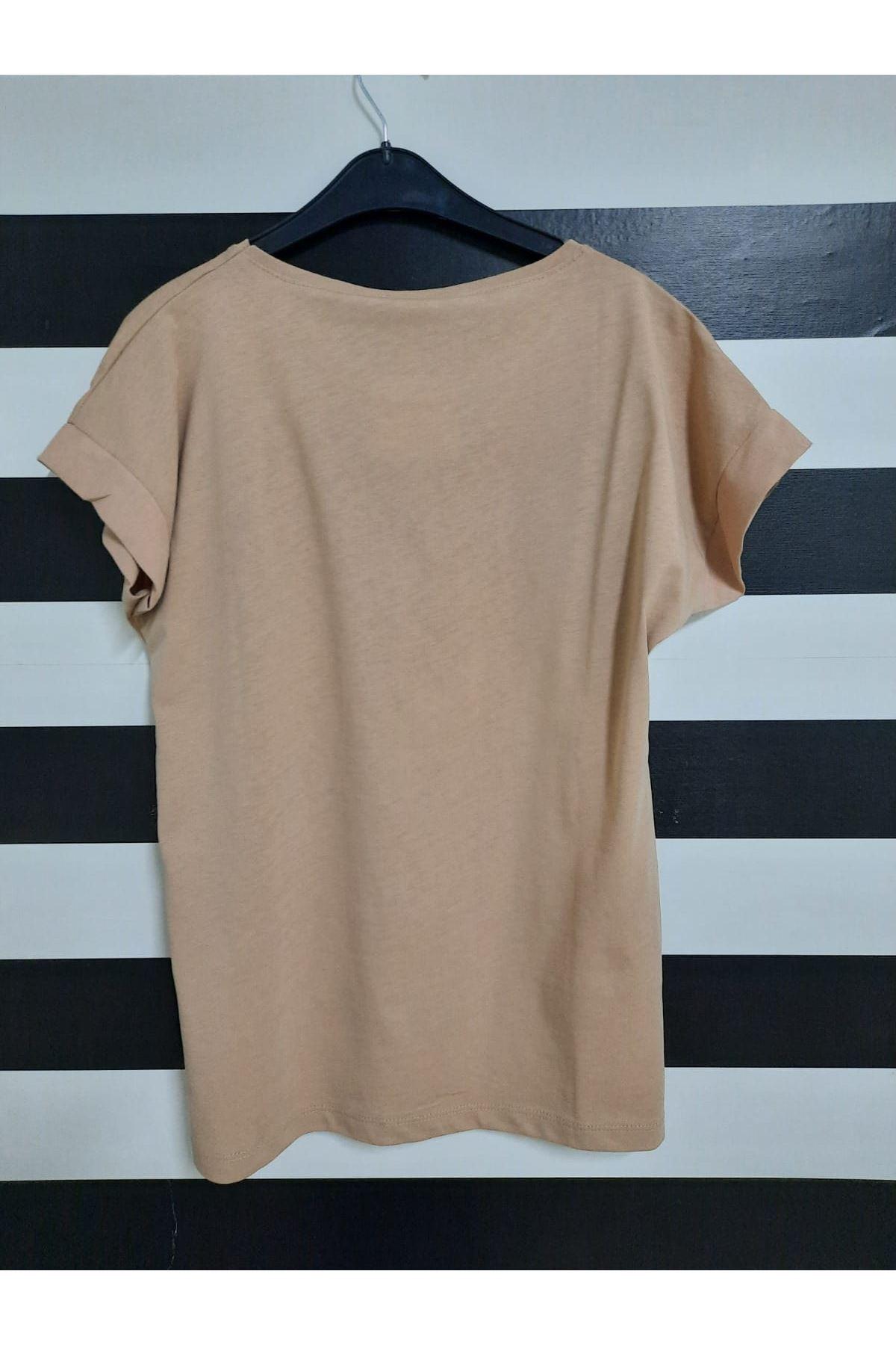 Dudak Ve Yazı Baskılı Tshirt - BEJ