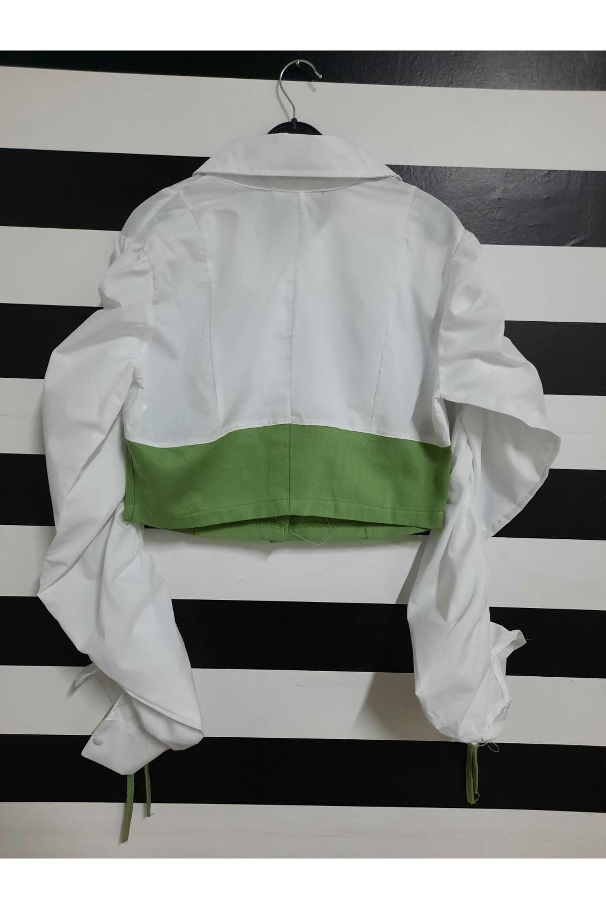 Kol Büzgülü Crop Gabardin Detaylı Gömlek -HAKİ