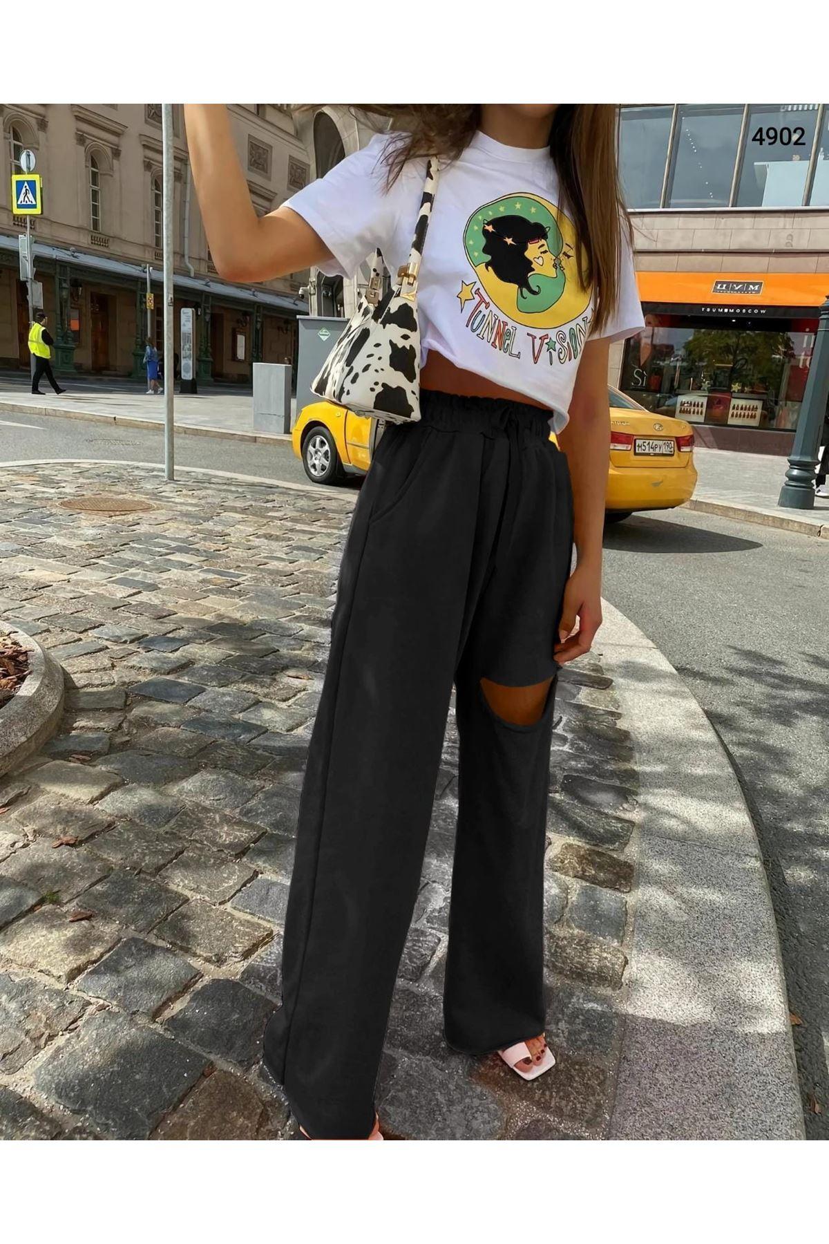 Yırtık Detaylı Salaş Pantolon - SİYAH