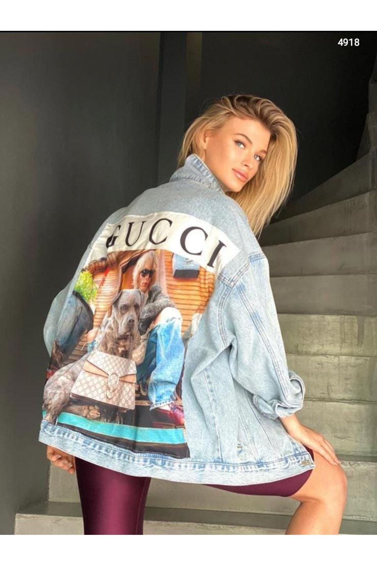 GUCC Model Baskılı Kot Ceket - MAVİ