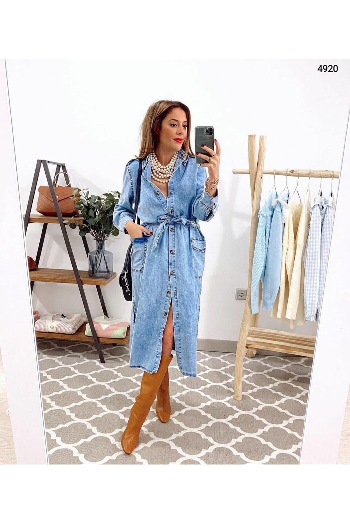 Yırtmaç Detaylı Kot Elbise - MAVİ