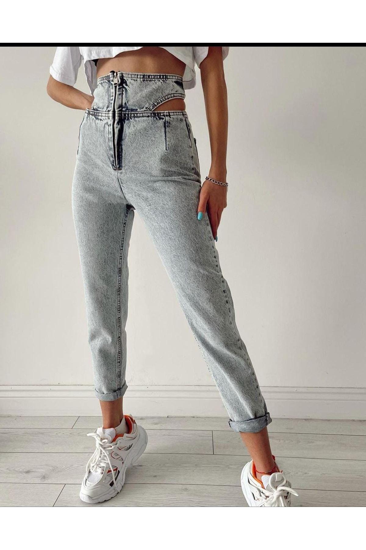 Bel Detaylı Kot Pantolon - MAVİ