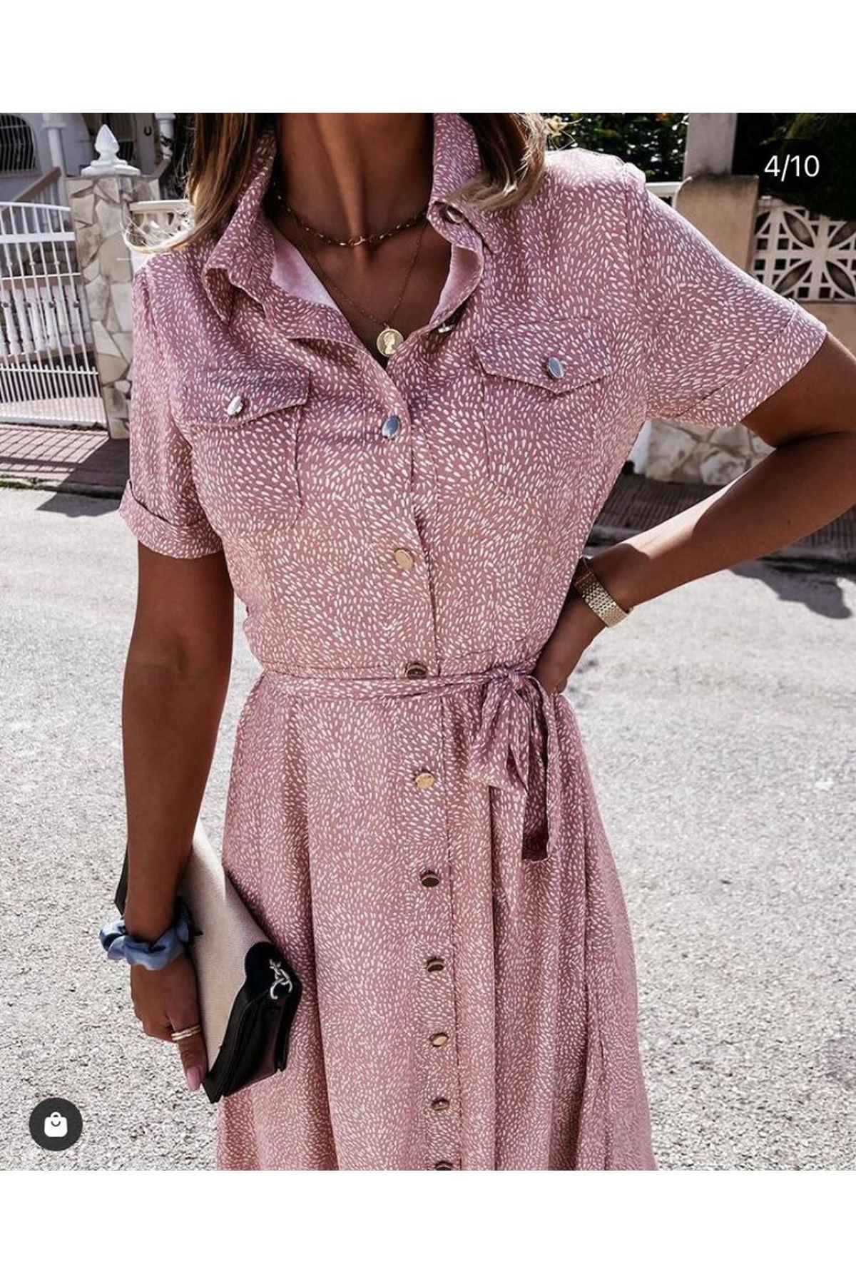 Cep Detaylı Crep Gömlek Elbise - PUDRA