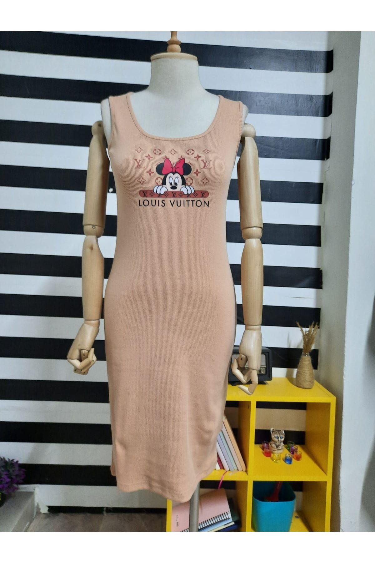 LV Model Kaşkorse Elbise - BEJ