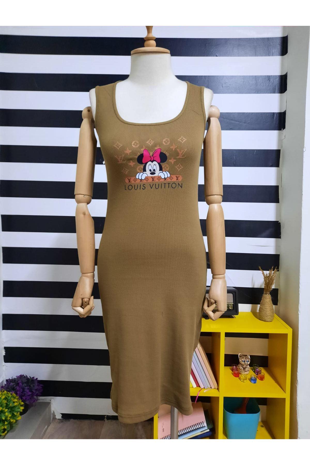 LV Model Kaşkorse Elbise - VİZON