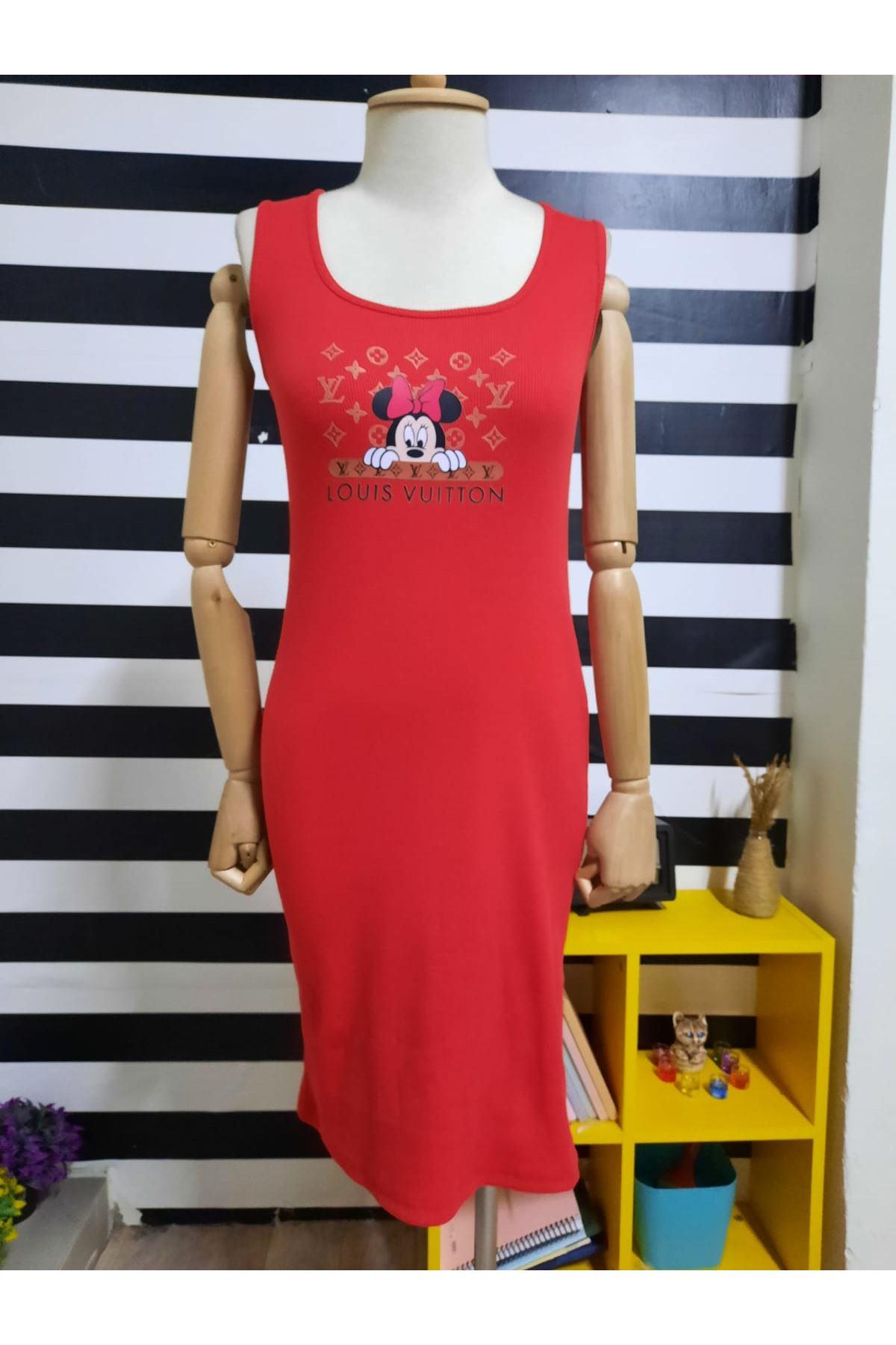 LV Model Kaşkorse Elbise - KIRMIZI