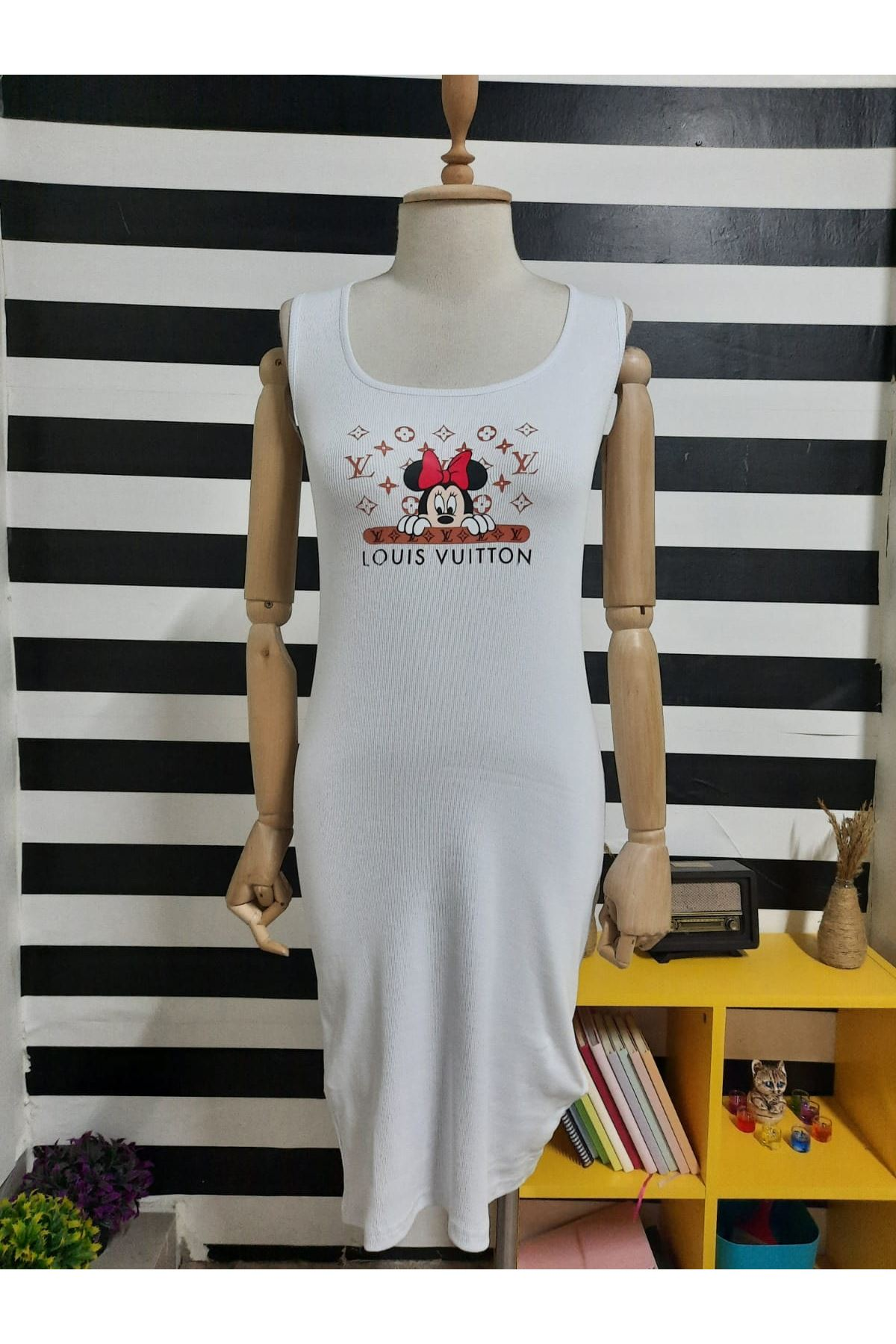 LV Model Kaşkorse Elbise - EKRU