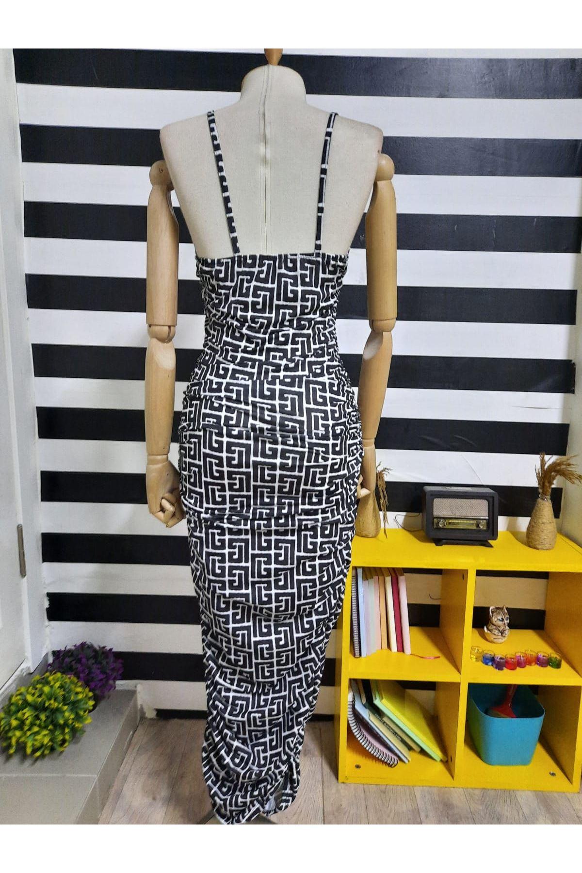 Askılı Büzgülü Elbise - MULTİ