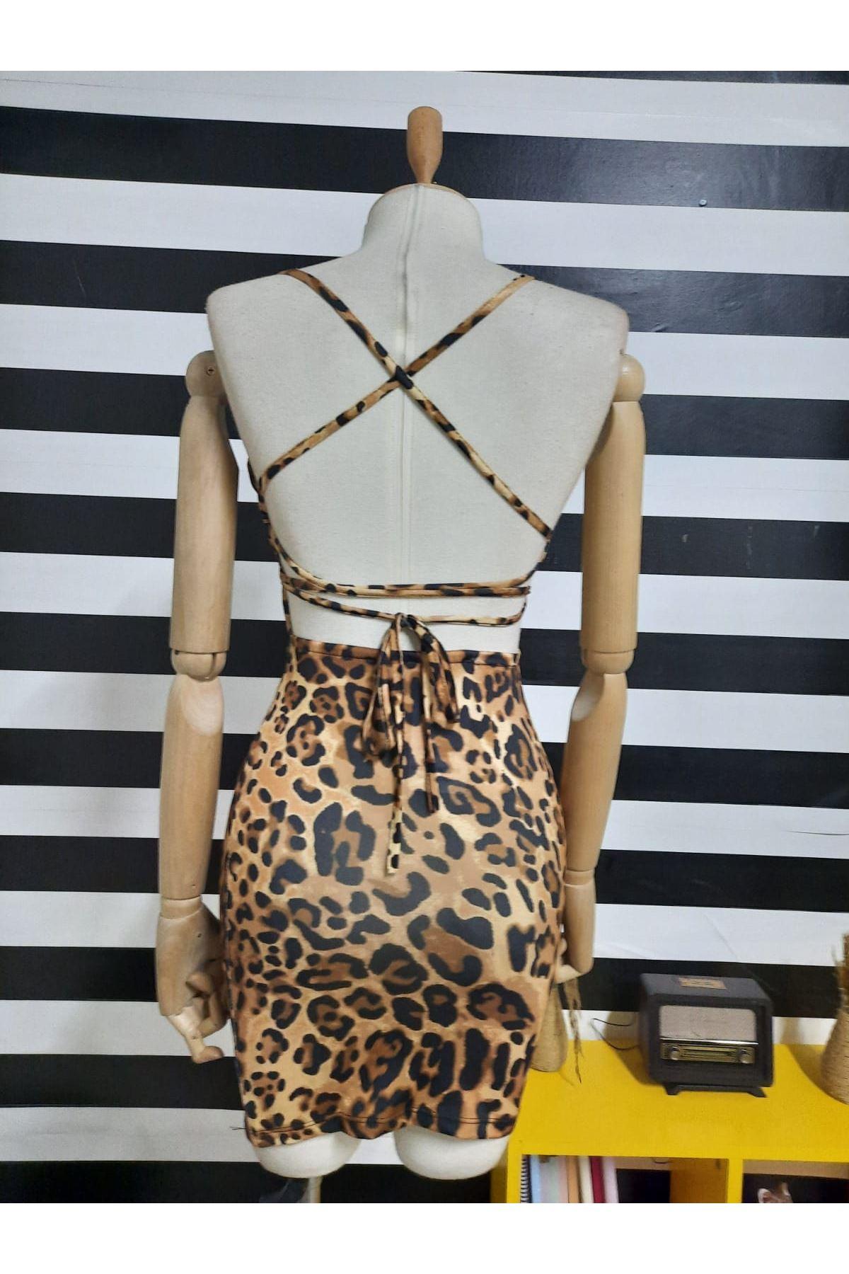 Sırt Çapraz Askılı Leopar Elbise - LEOPAR