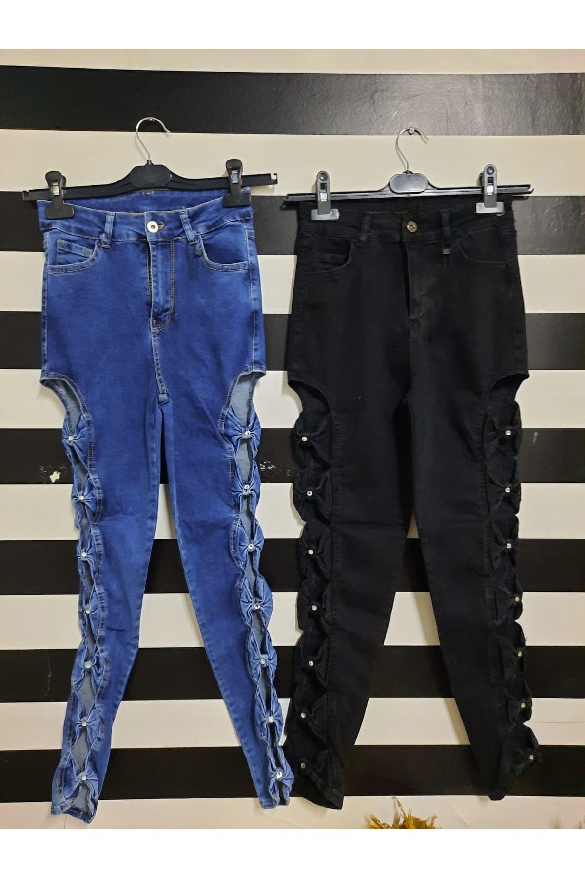 Dekolte Detaylı Kot Pantolon  - MAVİ
