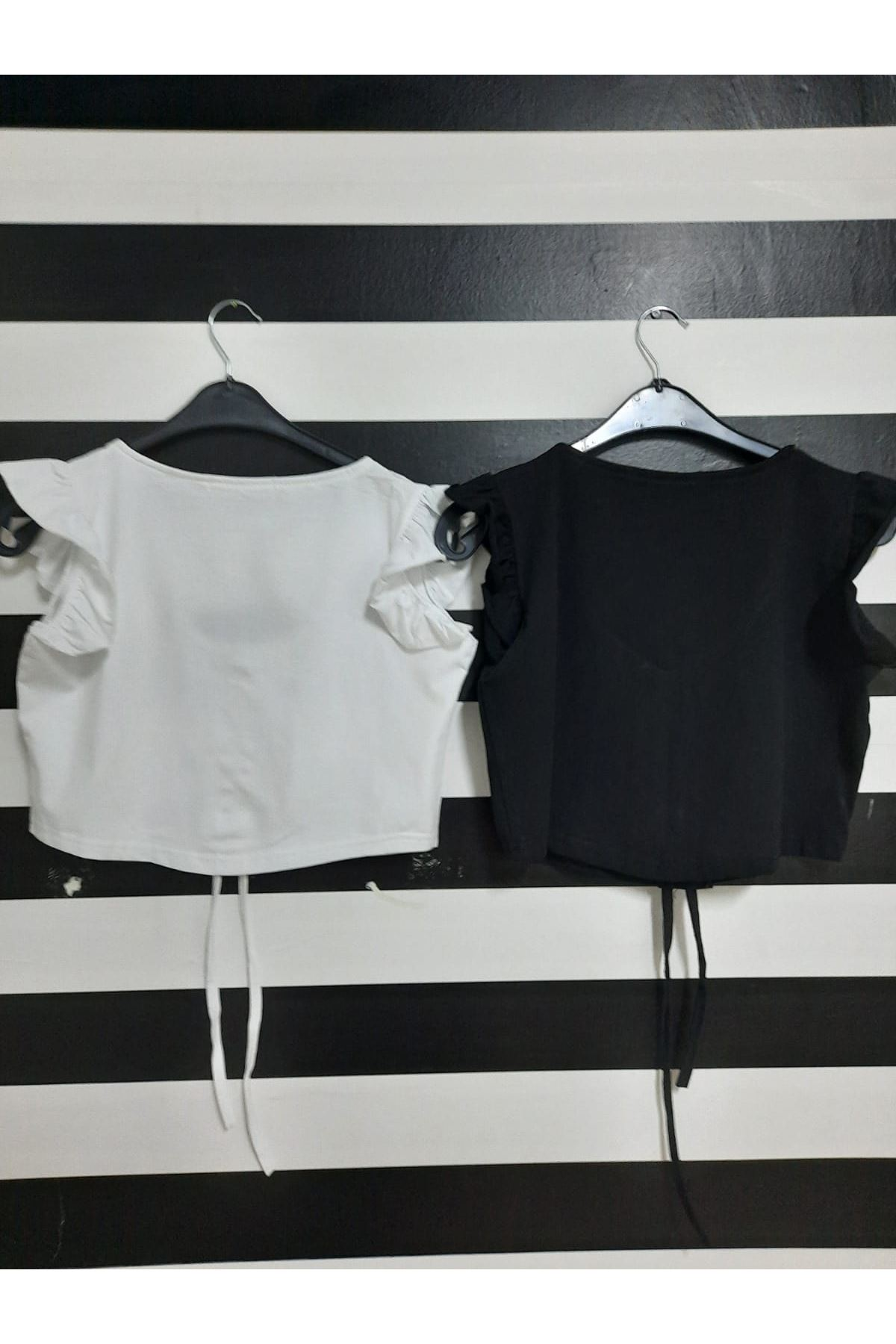 Omuz Fırfırlı Crop Bluz - SİYAH