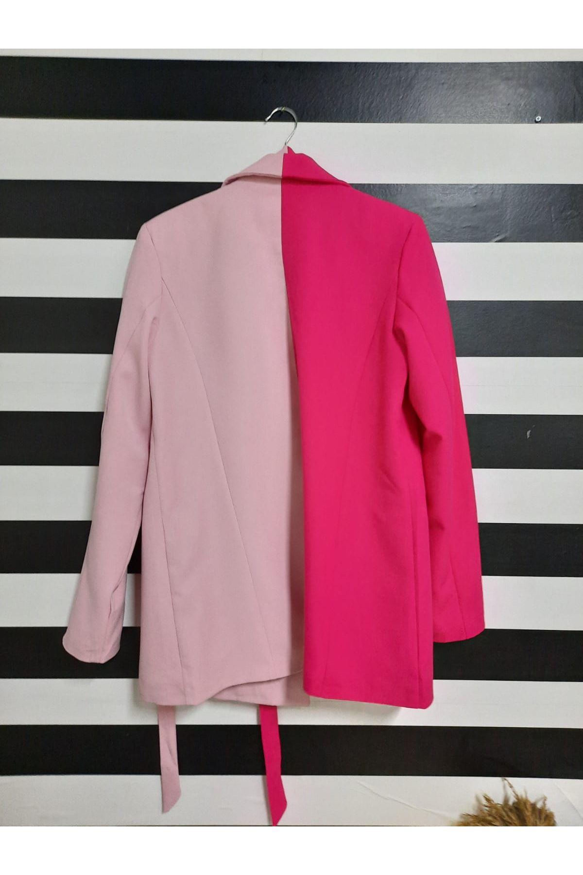 Çift Renk Kuşaklı Ceket - PEMBE