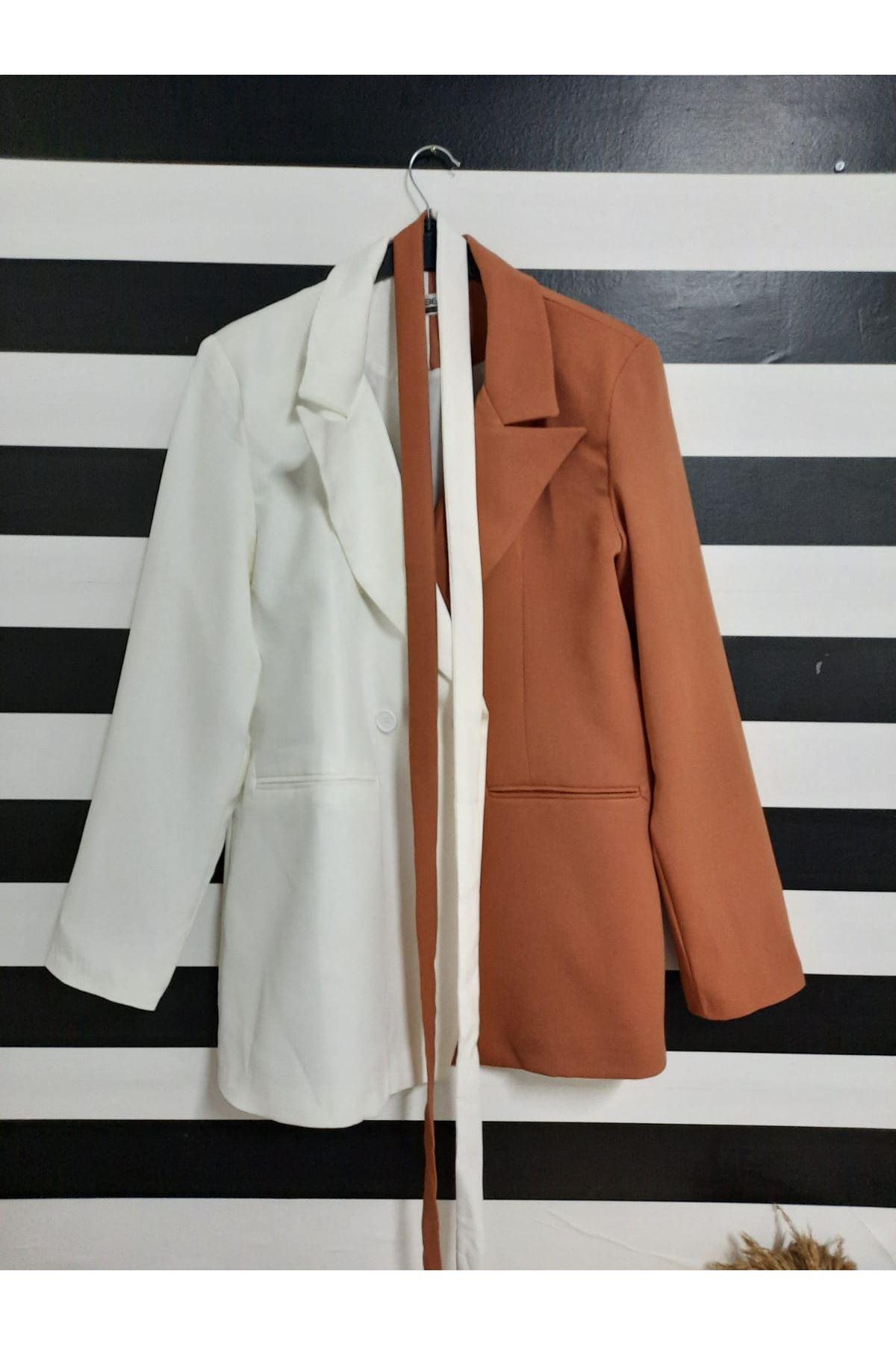 Çift Renk Kuşaklı Ceket - BEYAZ
