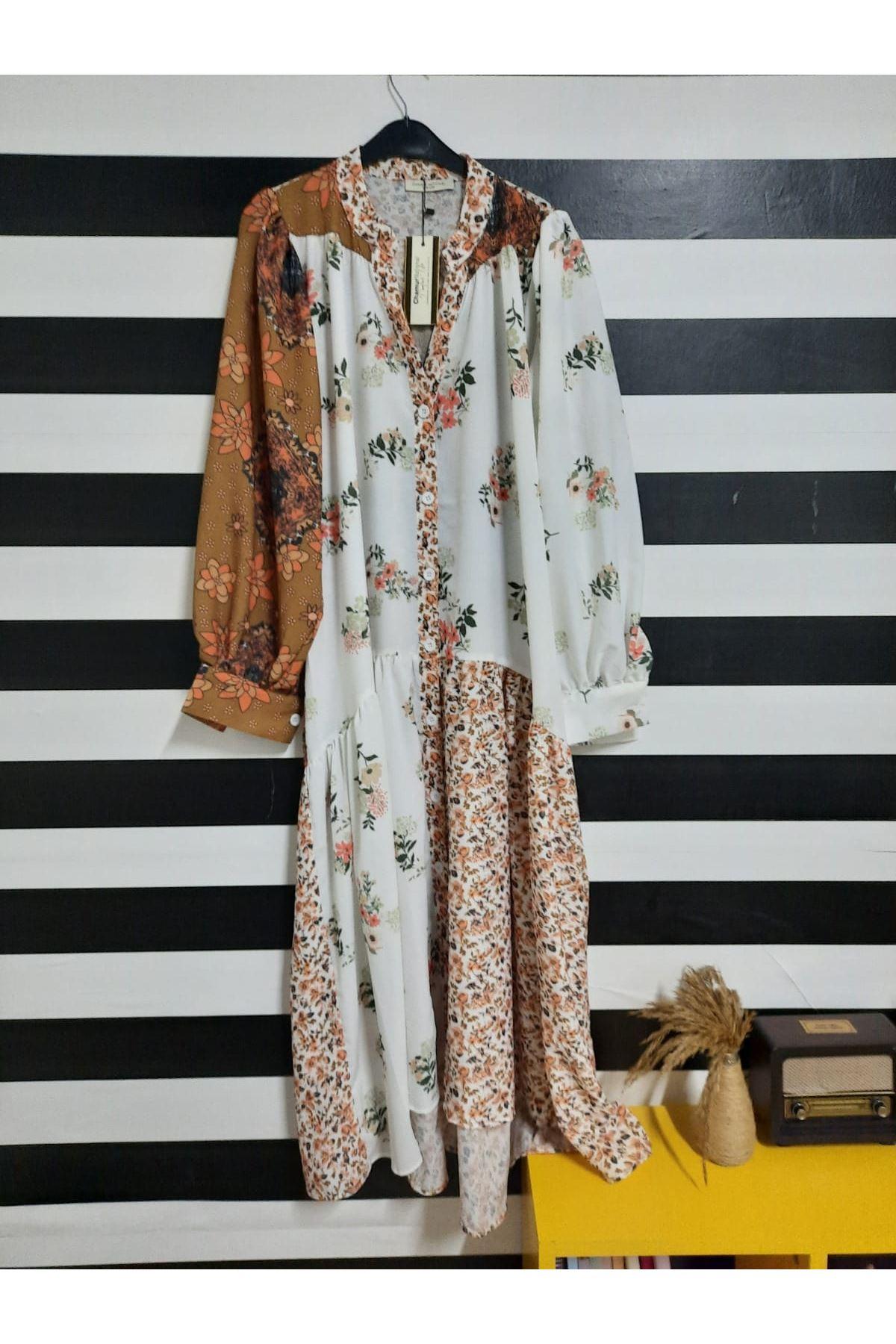 Etnik Ve Çiçek Desen Crep Elbise - MULTİ
