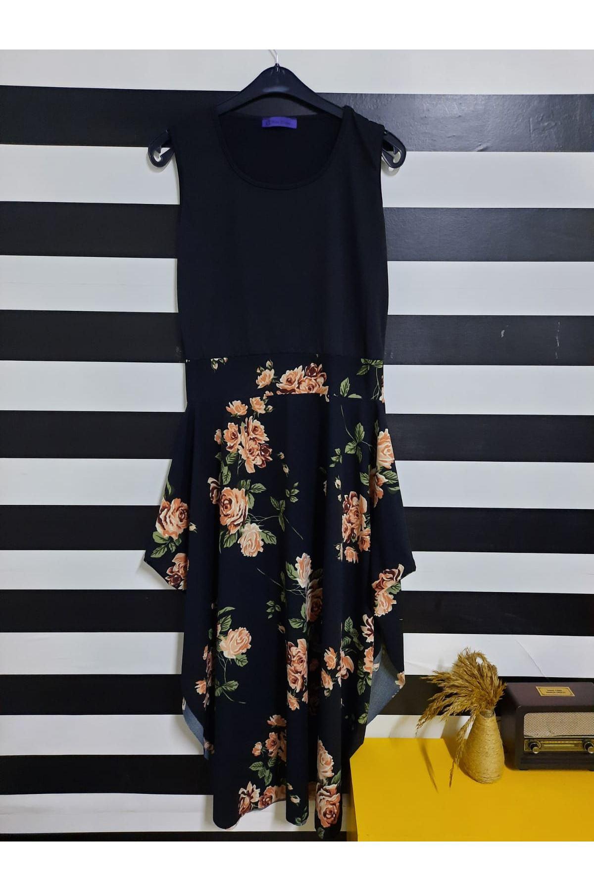 Kısa Kol Etek Desenli Elbise - ÇİÇEK