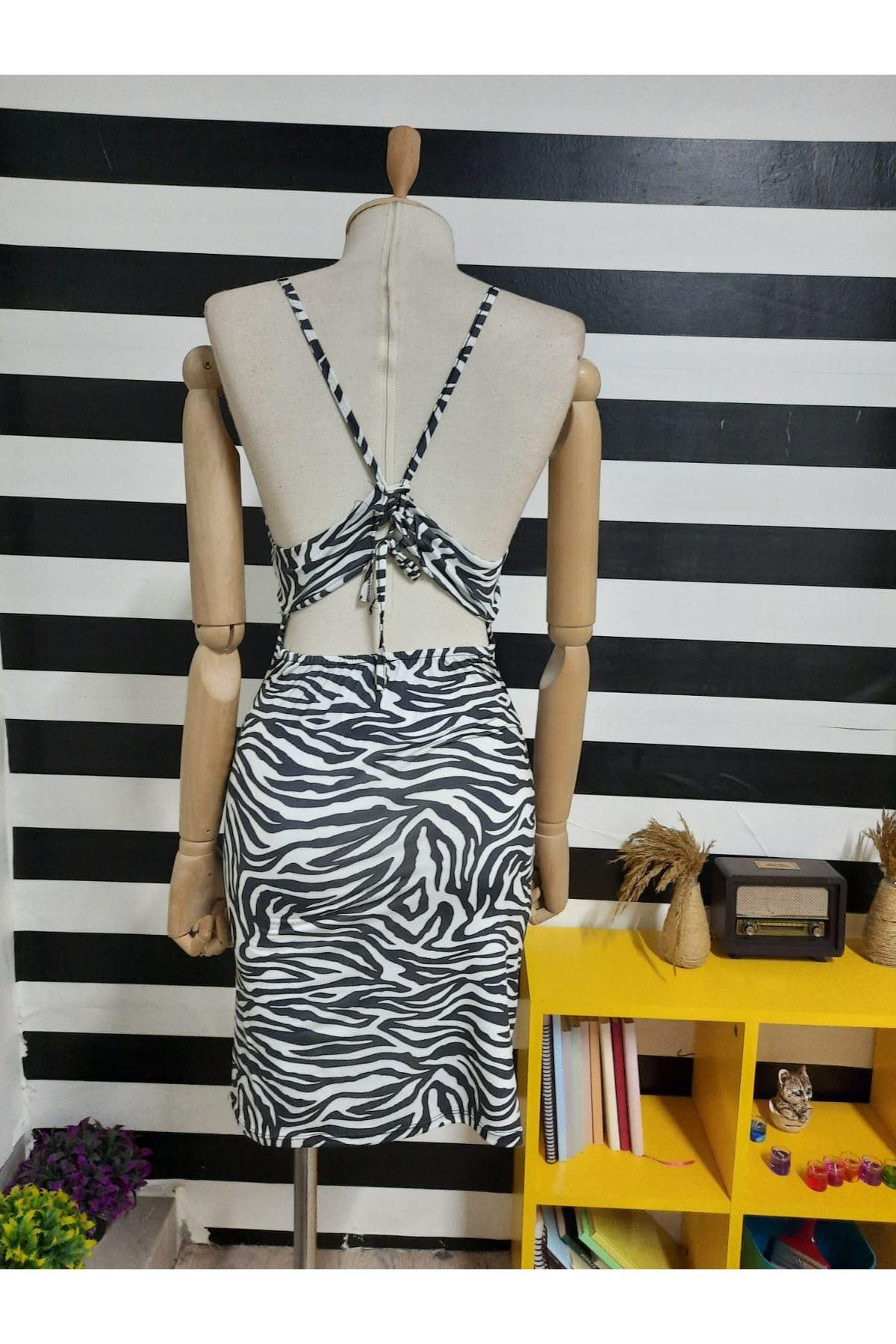 Zebra Desen Dekolte Detaylı Elbise - ZEBRA