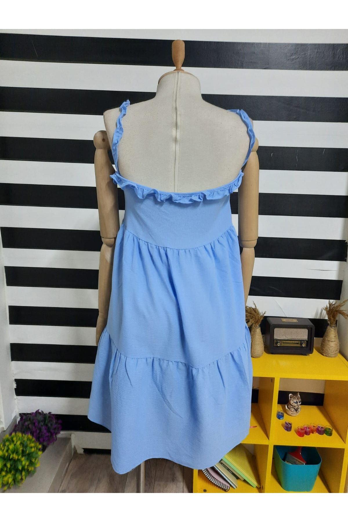 Askılı Fırfır Detaylı Keten Elbise - MAVİ